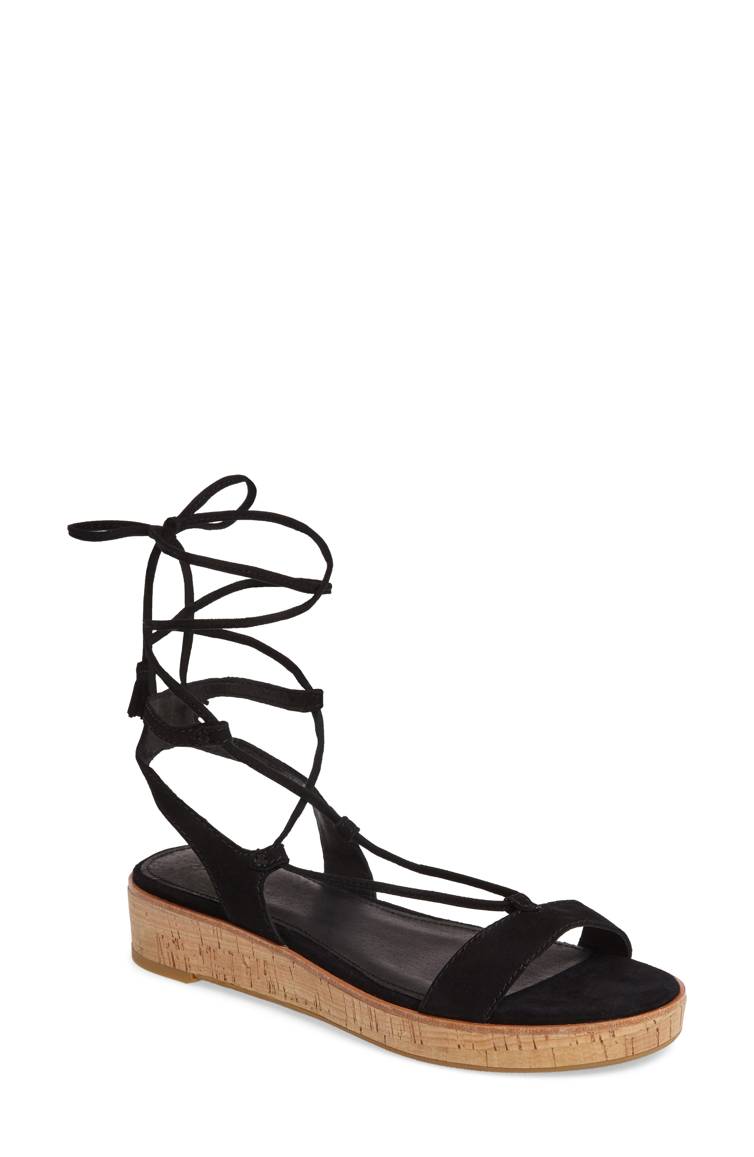 Miranda Gladiator Platform Sandal,                         Main,                         color, Black Suede