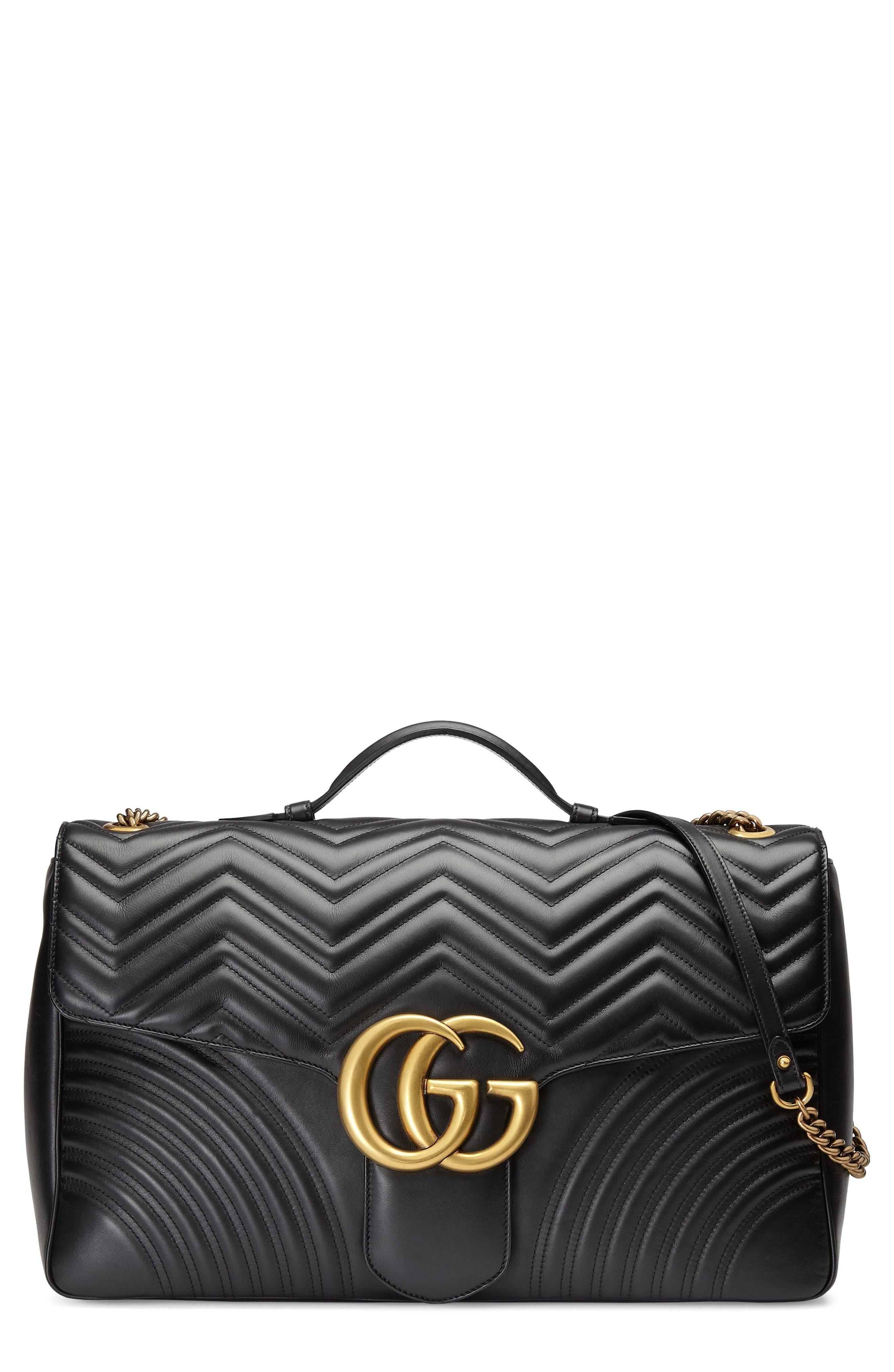 GG Marmont Maxi Matelassé Top Handle Shoulder Bag,                             Main thumbnail 1, color,                             Nero