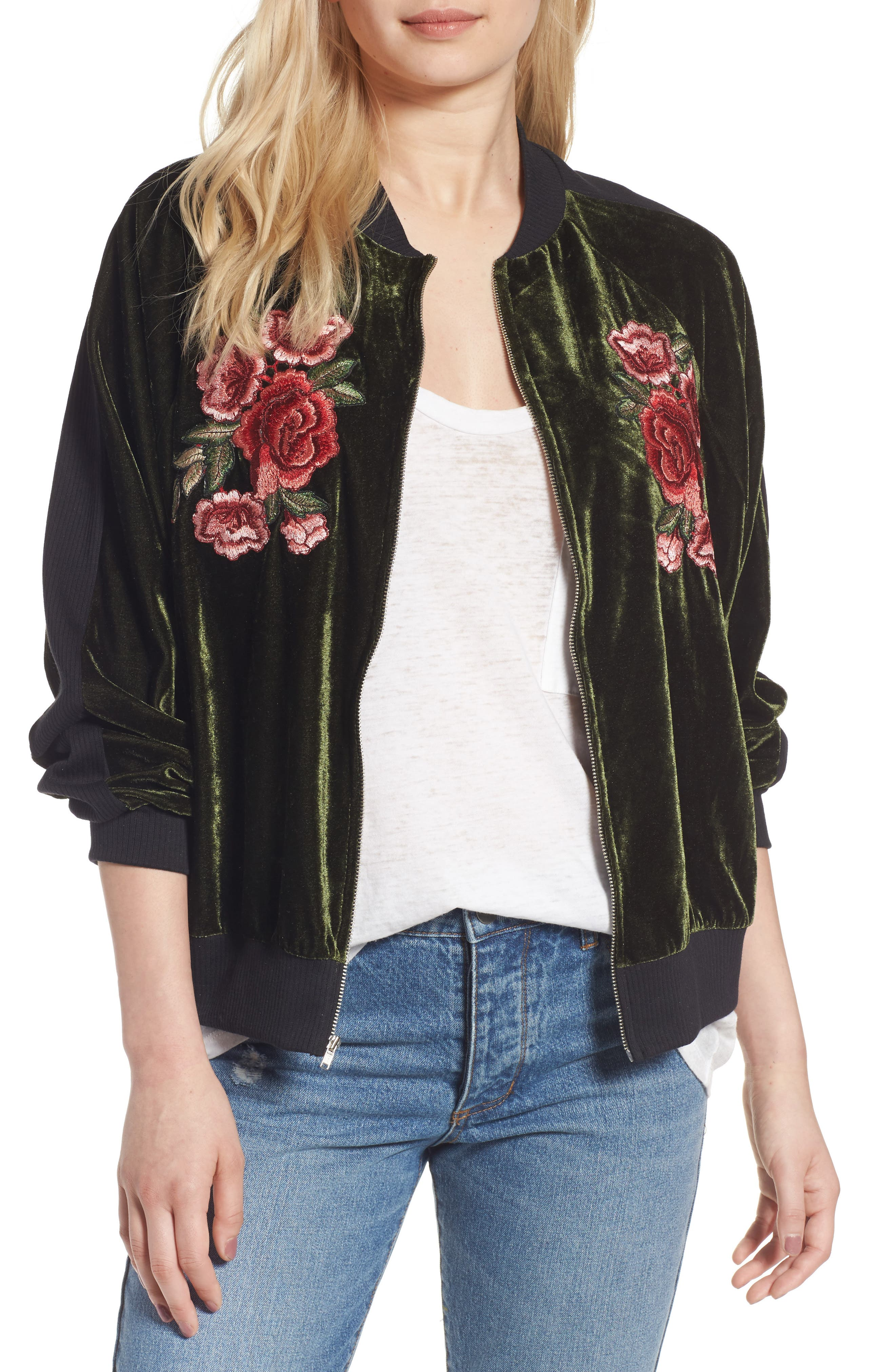 Alternate Image 1 Selected - BP. Floral Embroidered Bomber