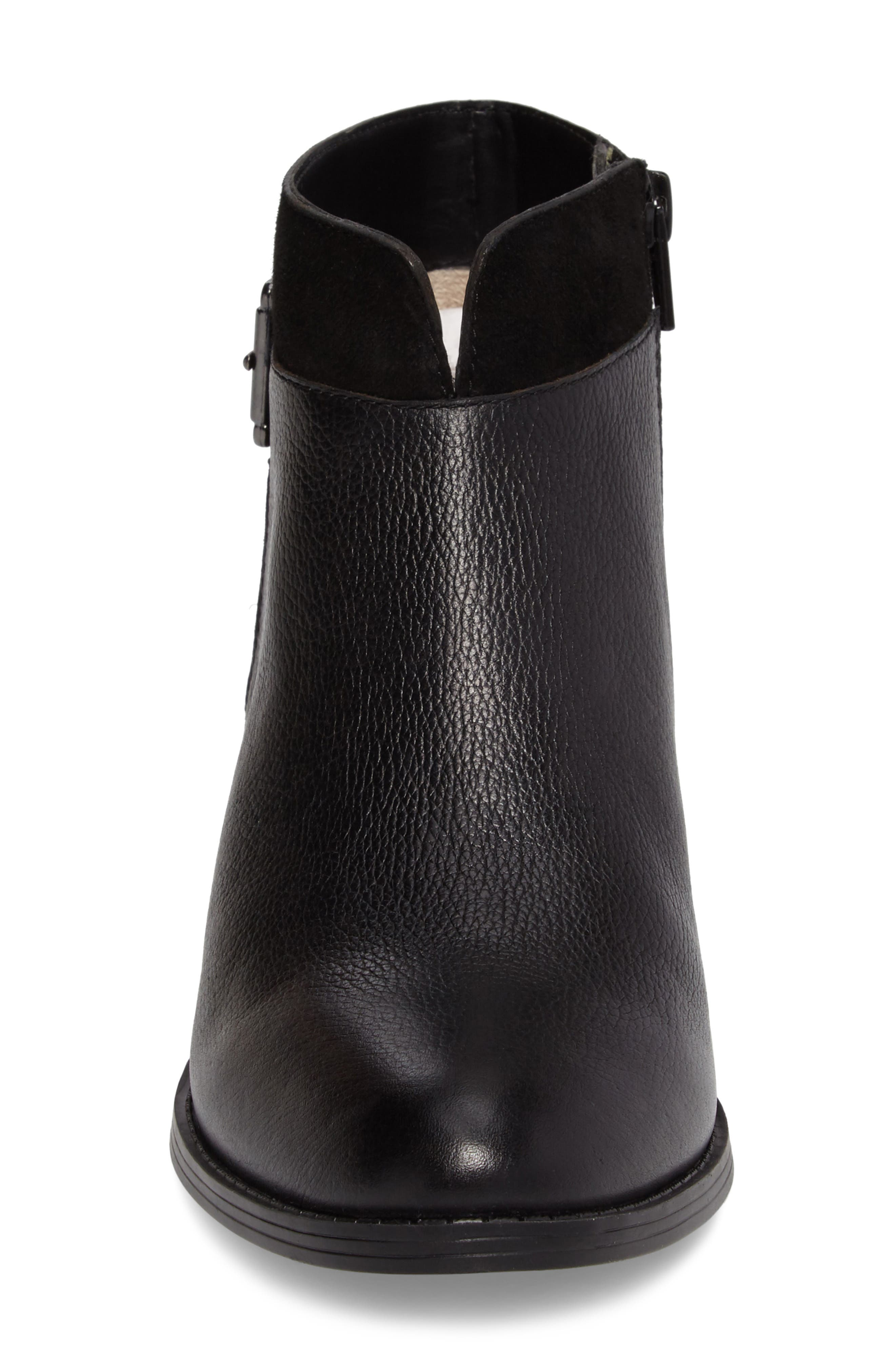 Wanya Buckle Bootie,                             Alternate thumbnail 4, color,                             Black Leather