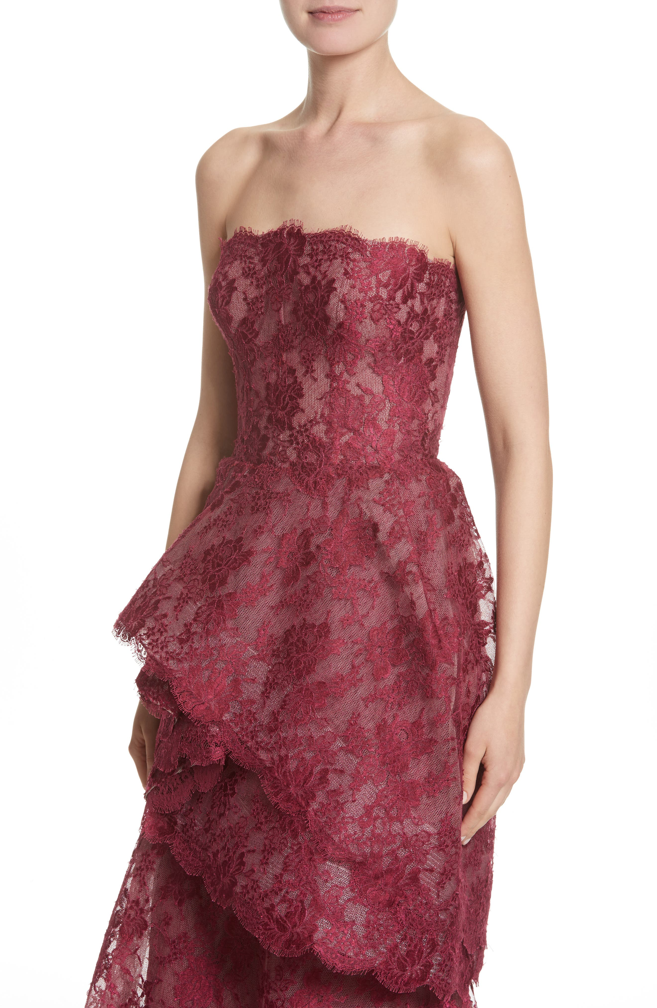 Tiered Strapless Lace Gown,                             Alternate thumbnail 6, color,                             Cherry