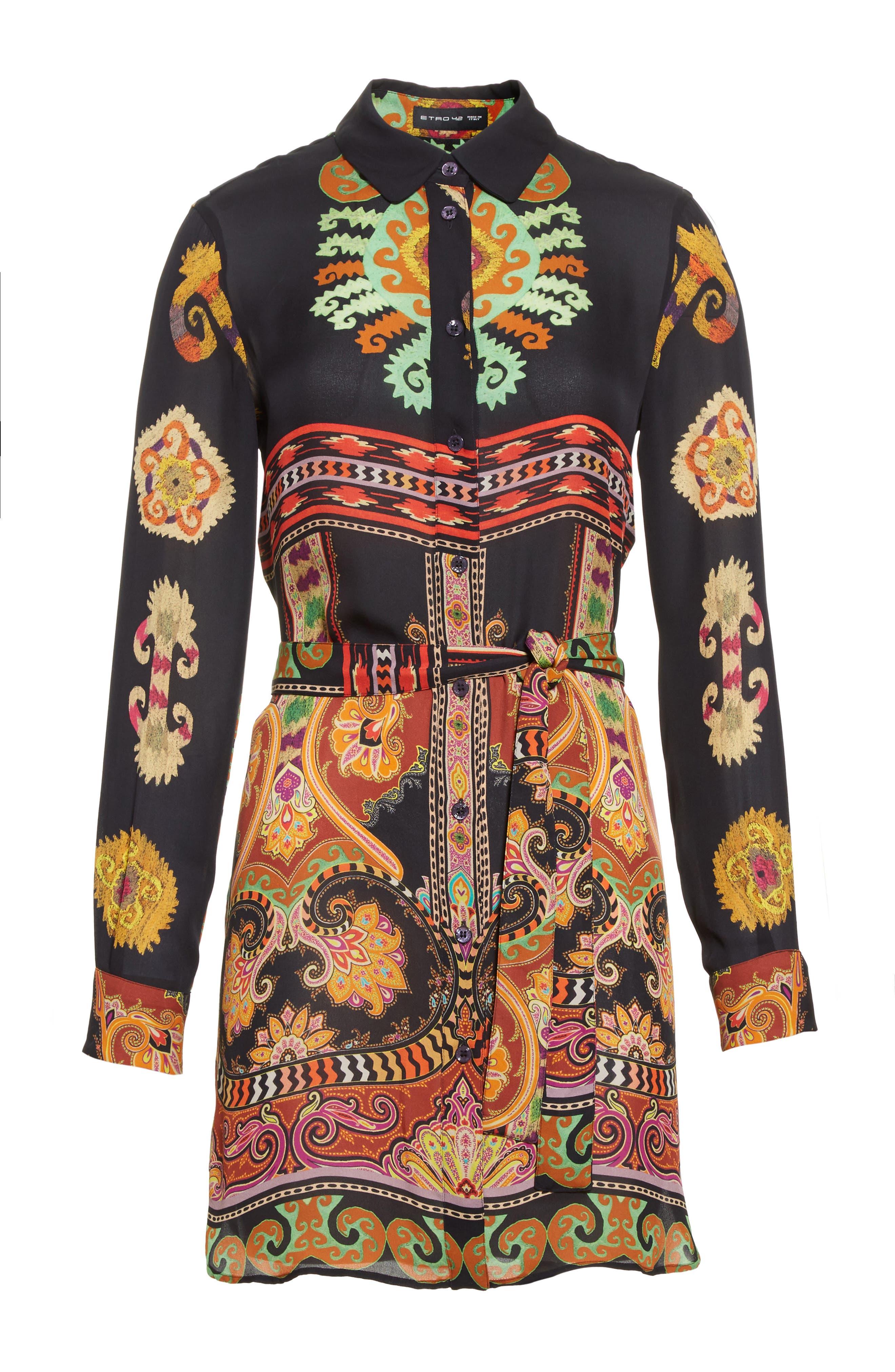 Suzani Print Silk Tunic,                             Alternate thumbnail 4, color,                             Black