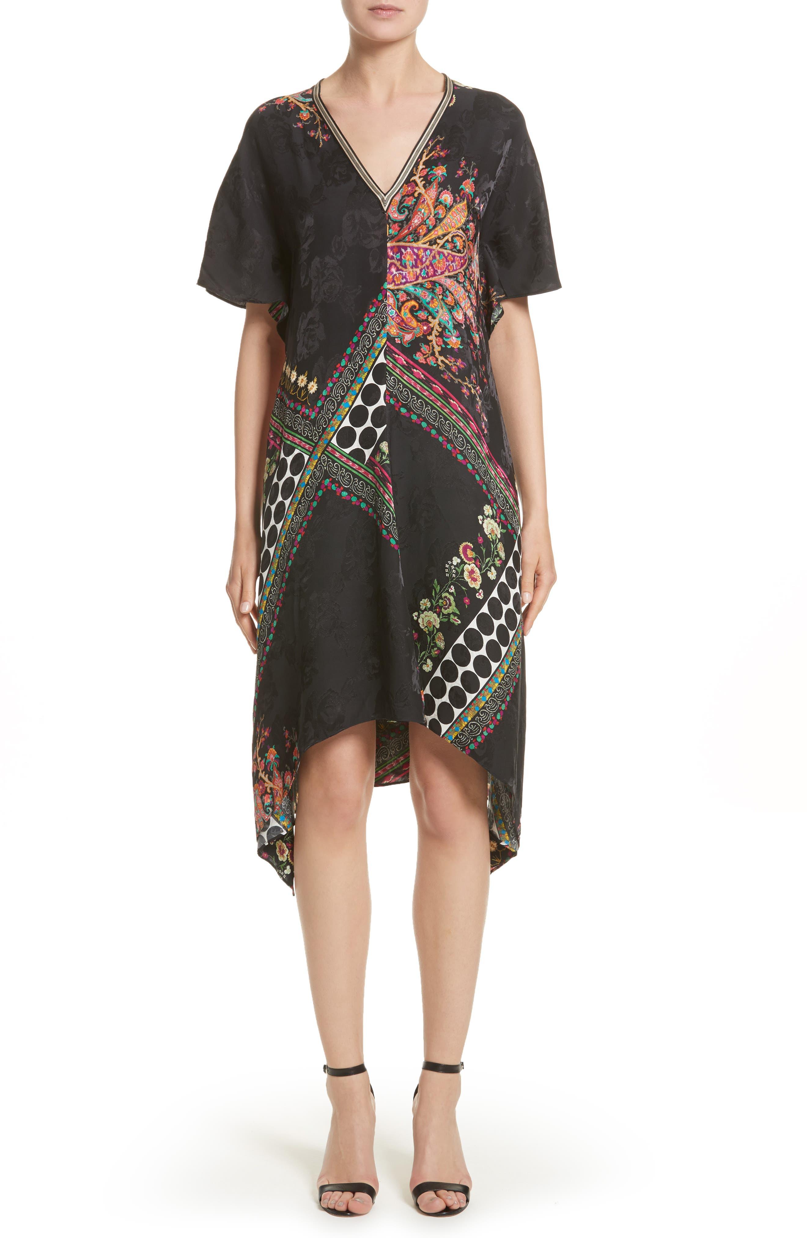 Etro Floral & Polka Dot Print Flutter Dress