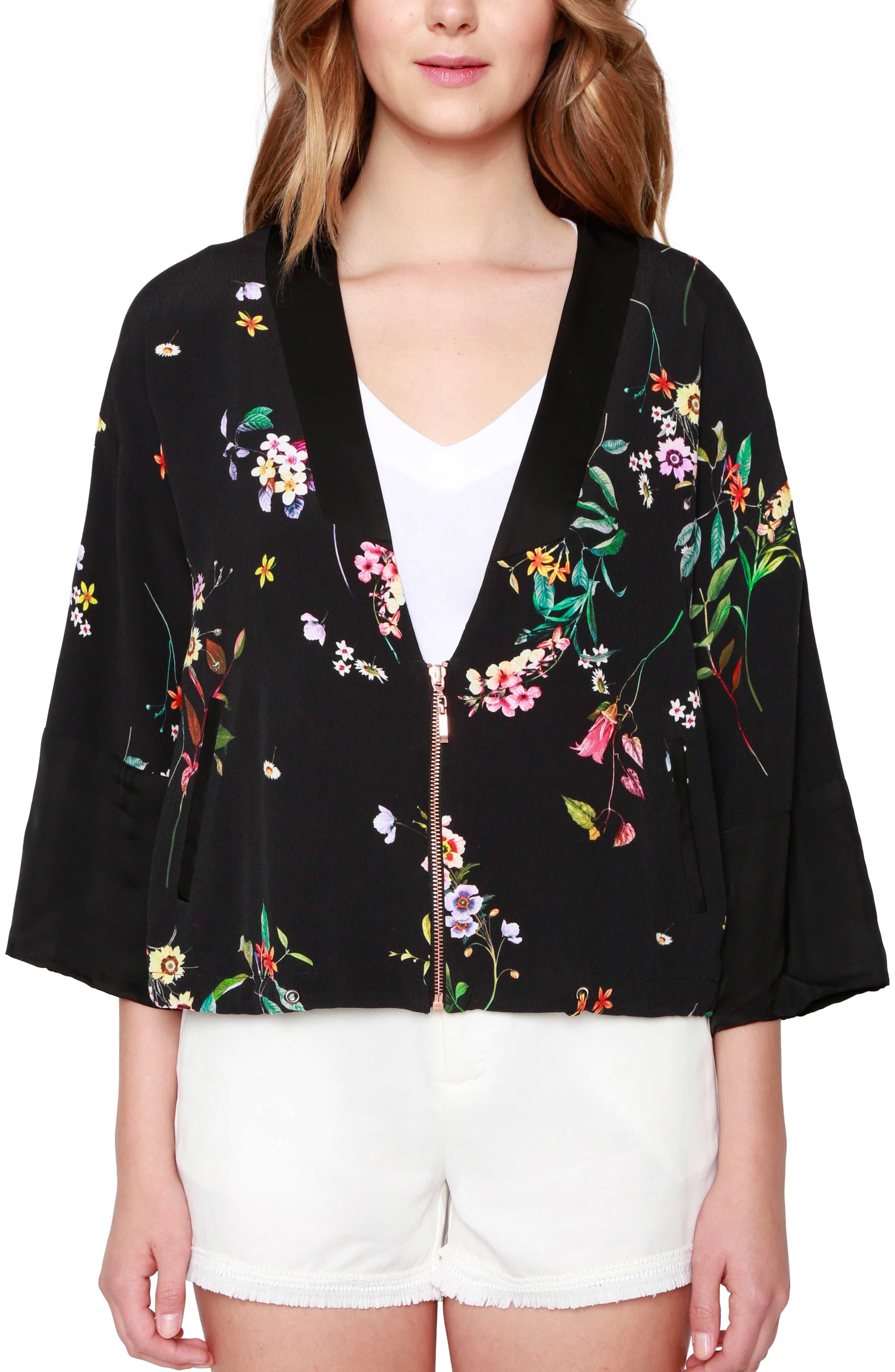 WILLOW & CLAY Floral Print Kimono Bomber Jacket