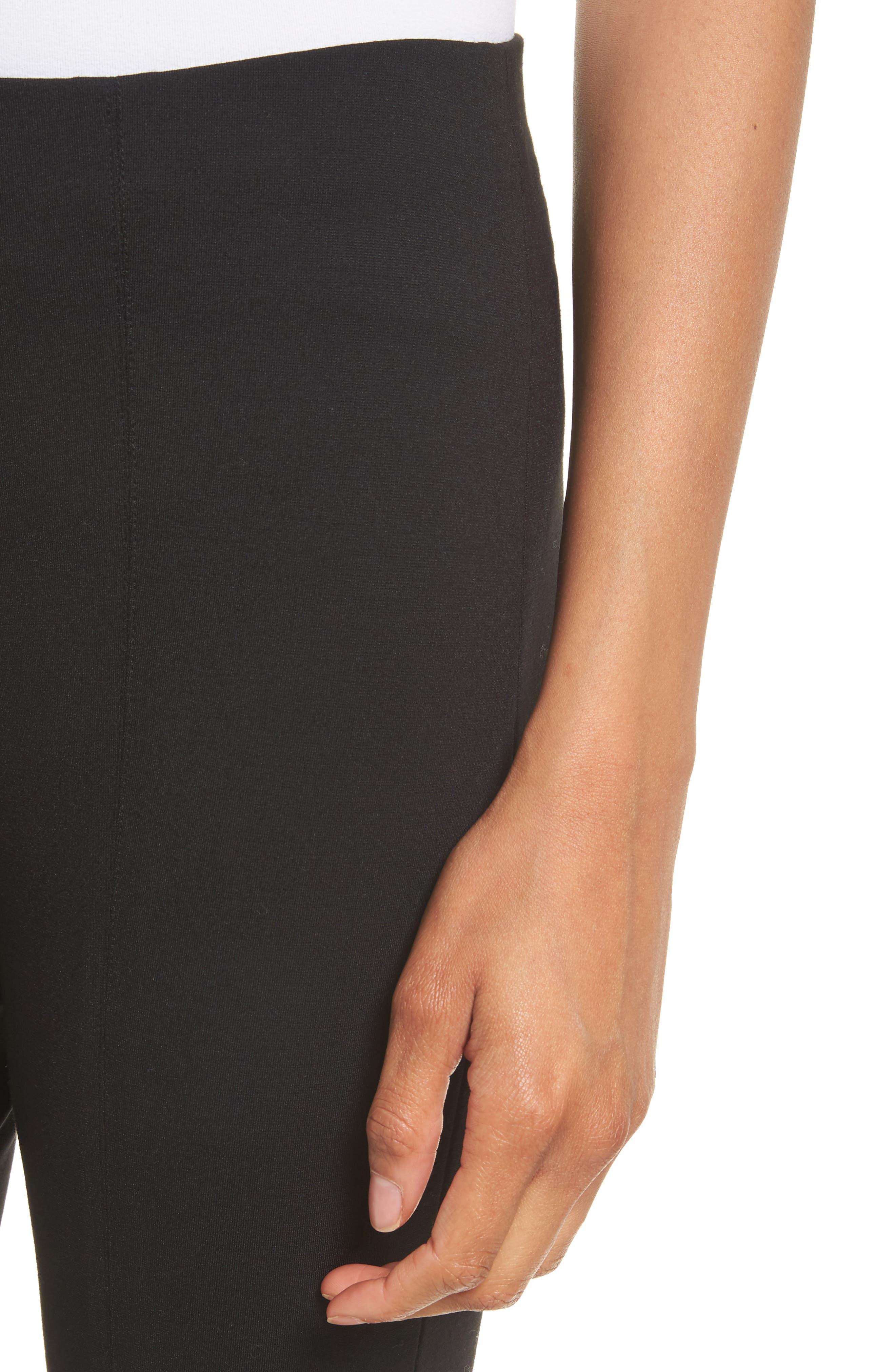 Crop Stretch Knit Trousers,                             Alternate thumbnail 4, color,                             Black