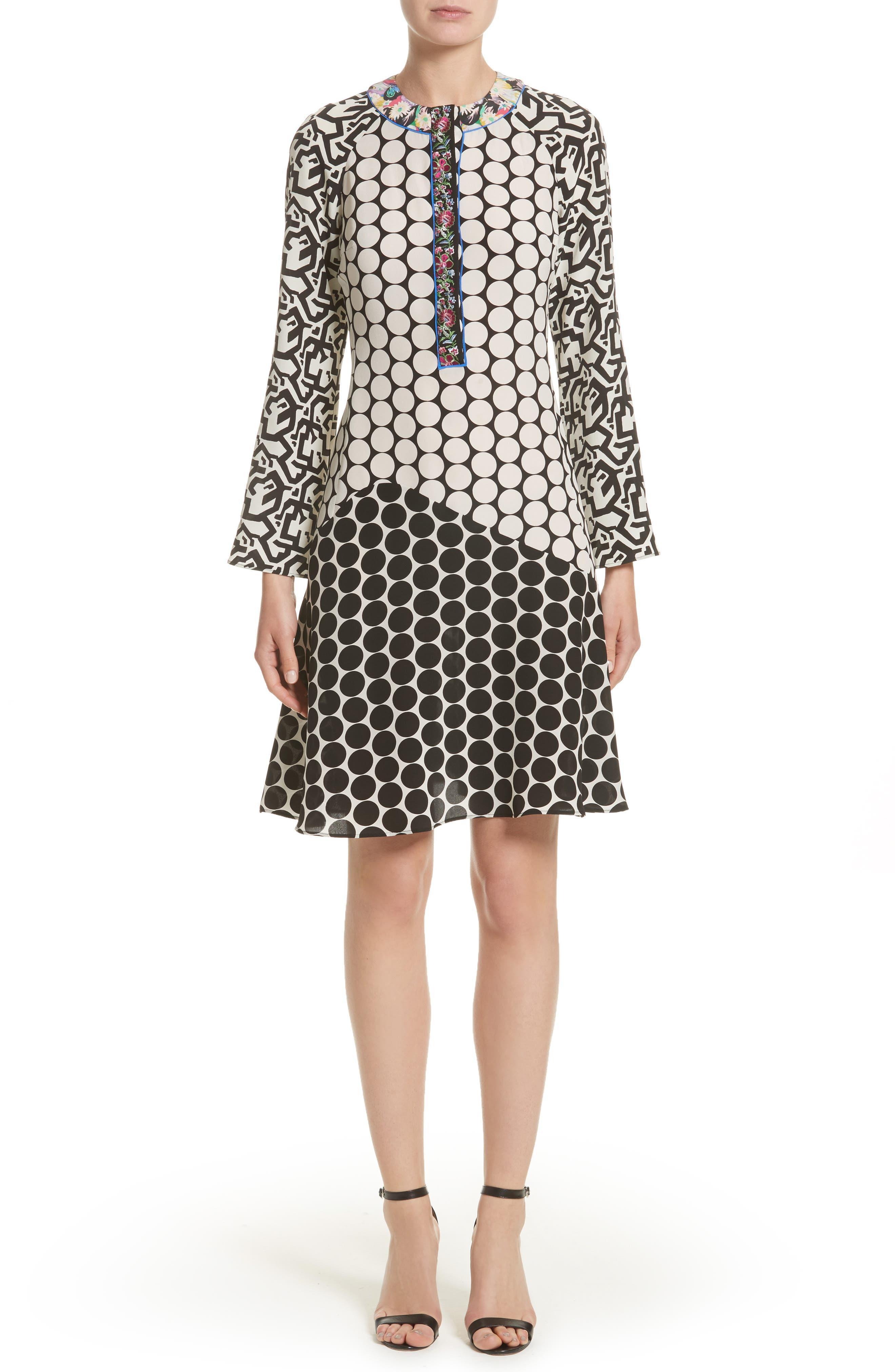 Etro Polka Dot Print Silk Crêpe de Chine Flutter Dress