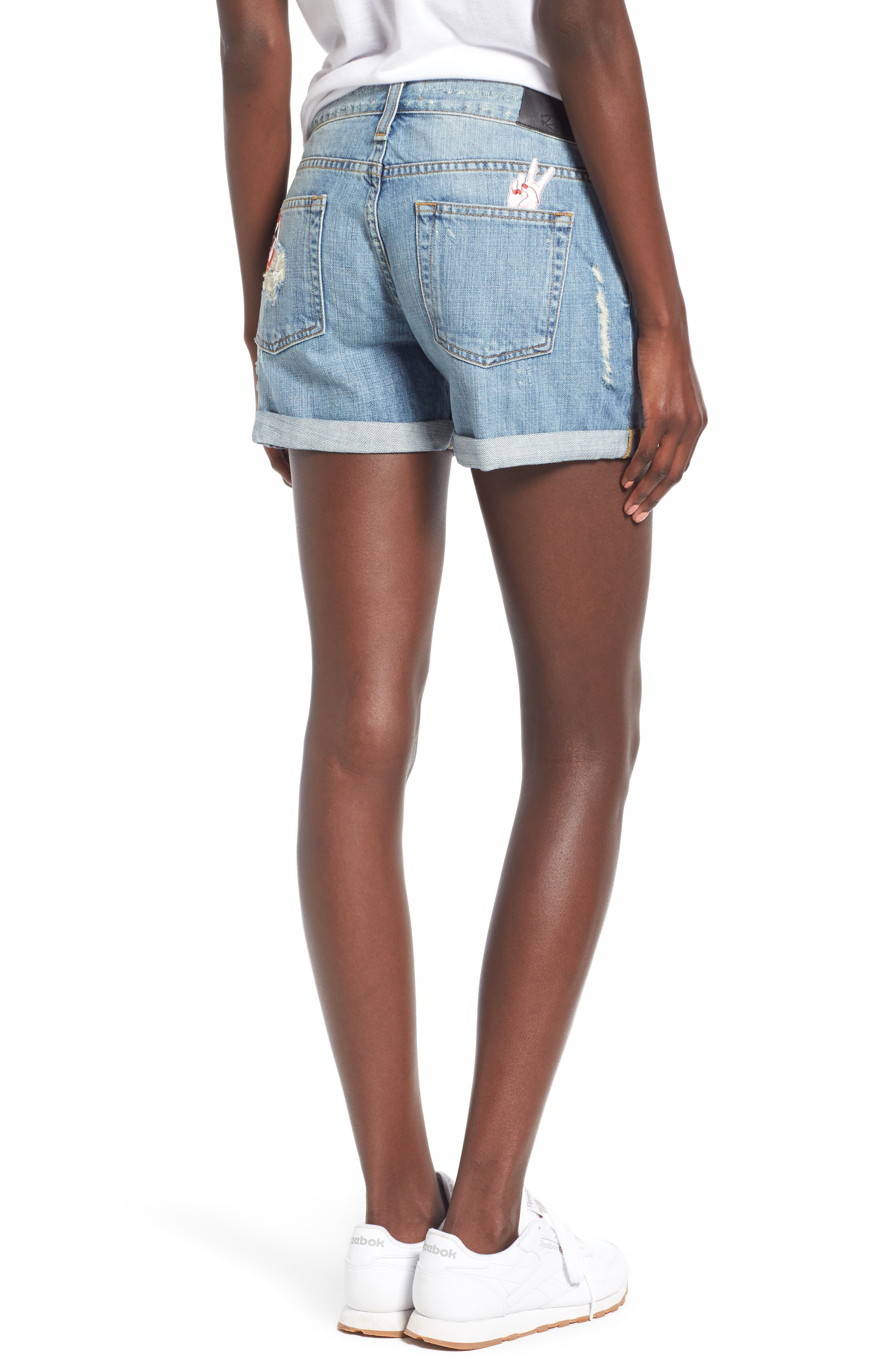 Logan Patch Denim Shorts,                             Alternate thumbnail 2, color,                             Medium Vintage Wash