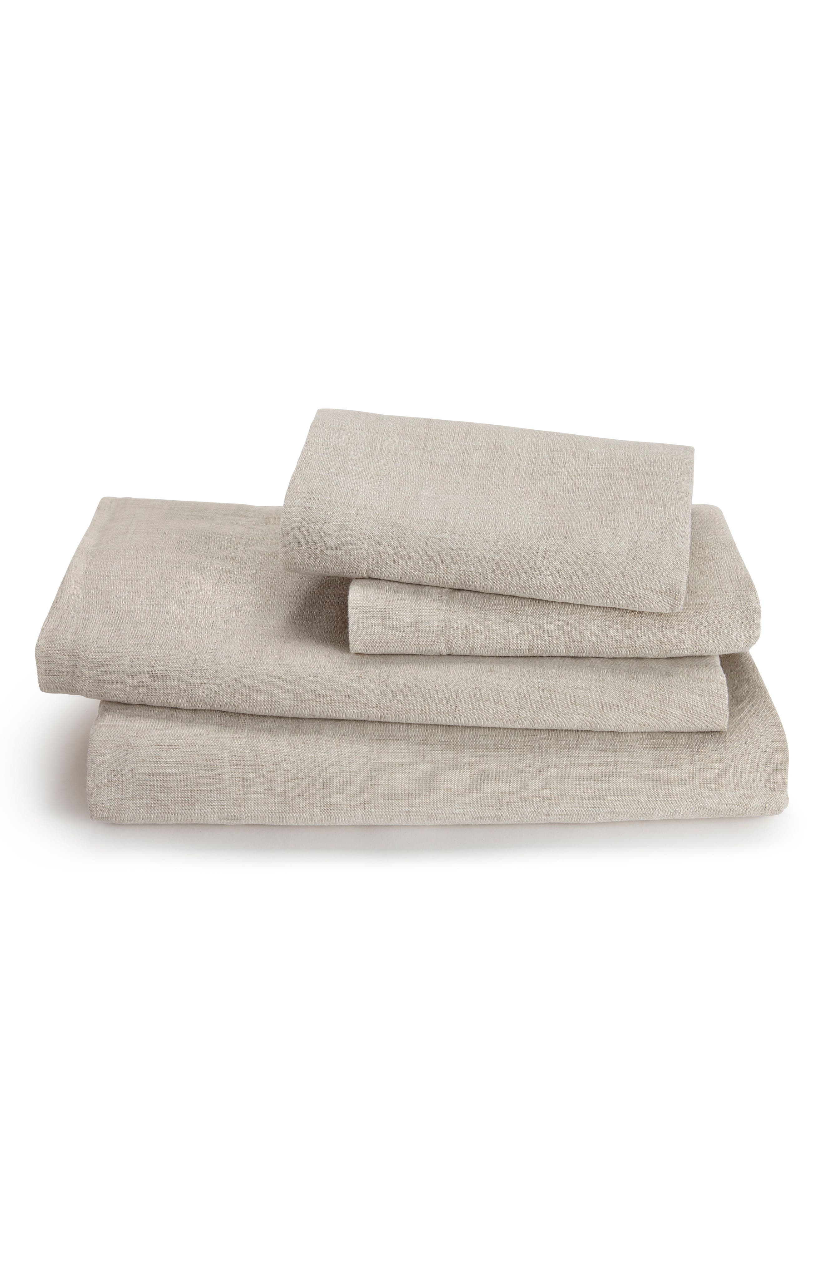 Lino Linen 300 Thread Count Fitted Sheet,                         Main,                         color, Linen