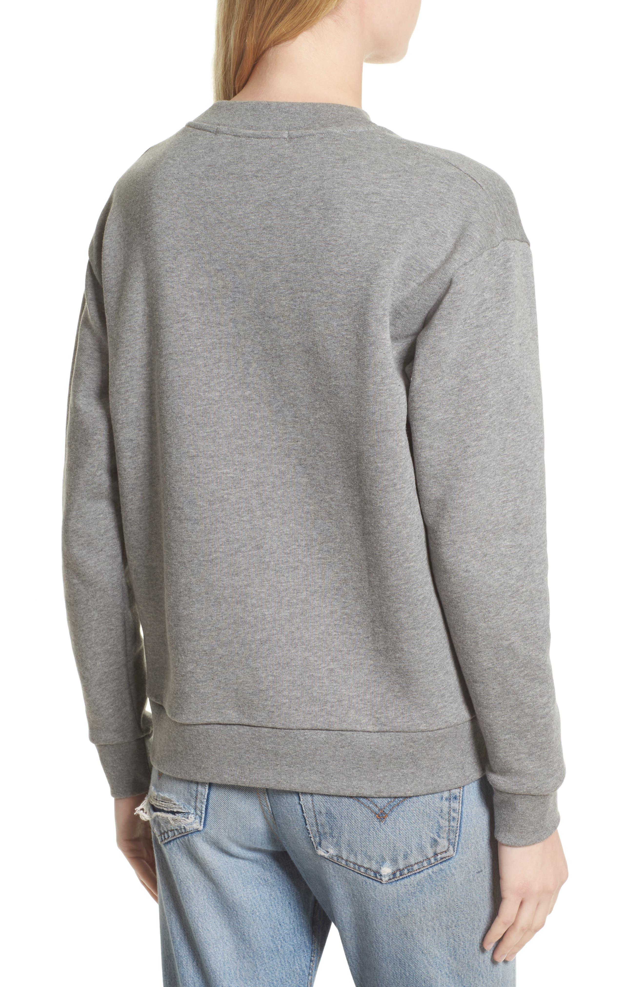 être cécile Music Face Boyfriend Sweatshirt,                             Alternate thumbnail 2, color,                             Medium Grey Marled