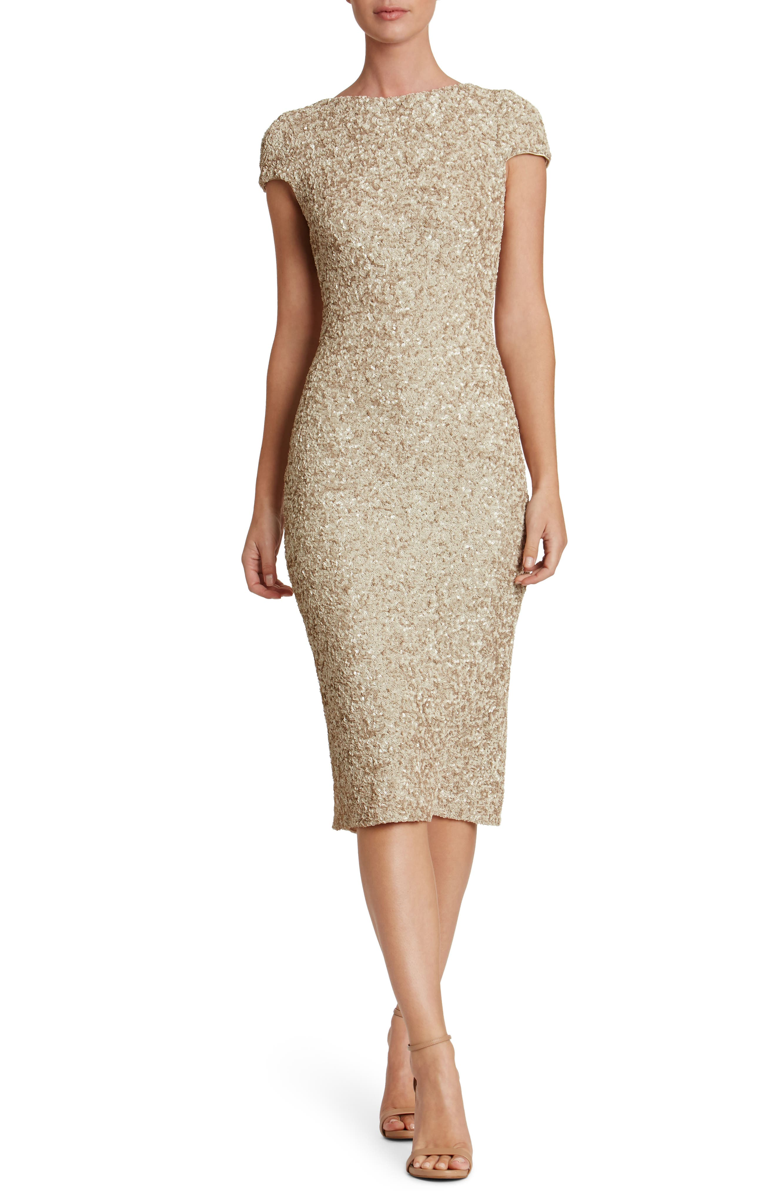 Marcella Sequin Midi Dress,                             Main thumbnail 1, color,                             Taupe