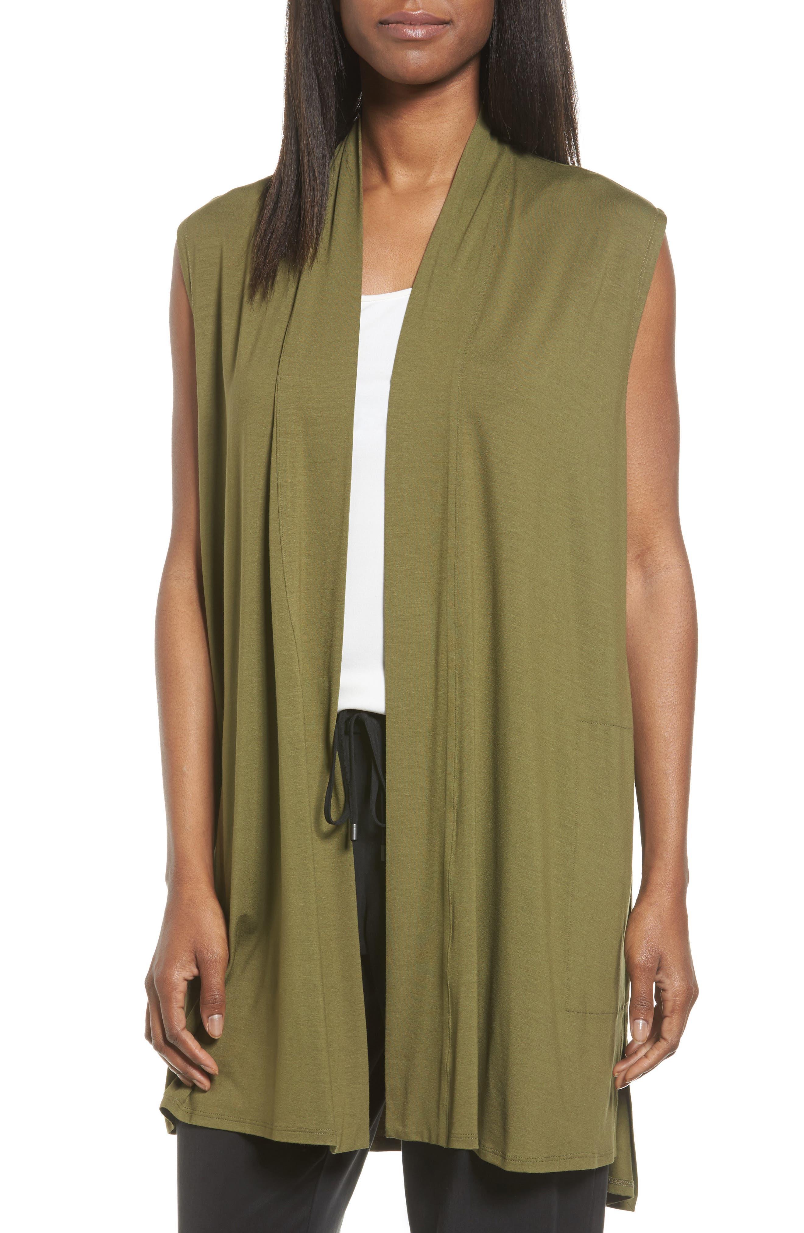 Alternate Image 1 Selected - Eilen Fisher Long Jersey Vest