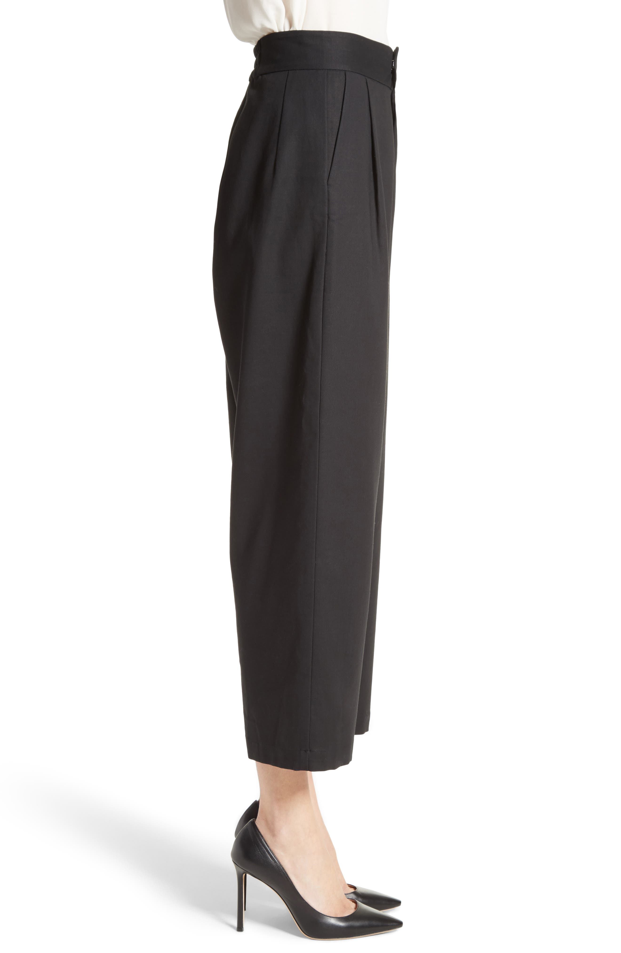 Gabardine Wrap Front Crop Pants,                             Alternate thumbnail 5, color,                             Black