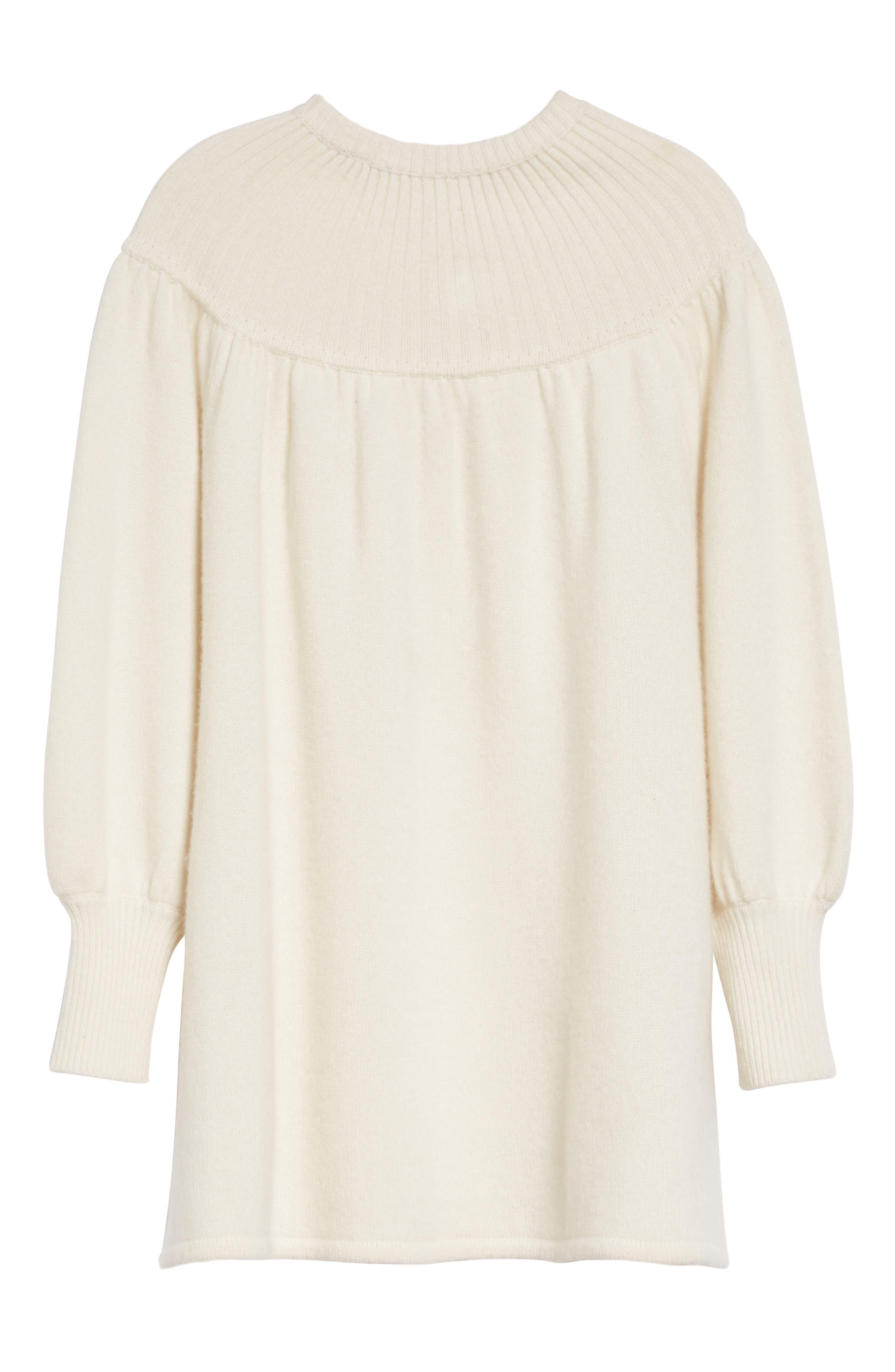 Rib Knit Cashmere Tunic Sweater,                             Alternate thumbnail 4, color,                             Ivory