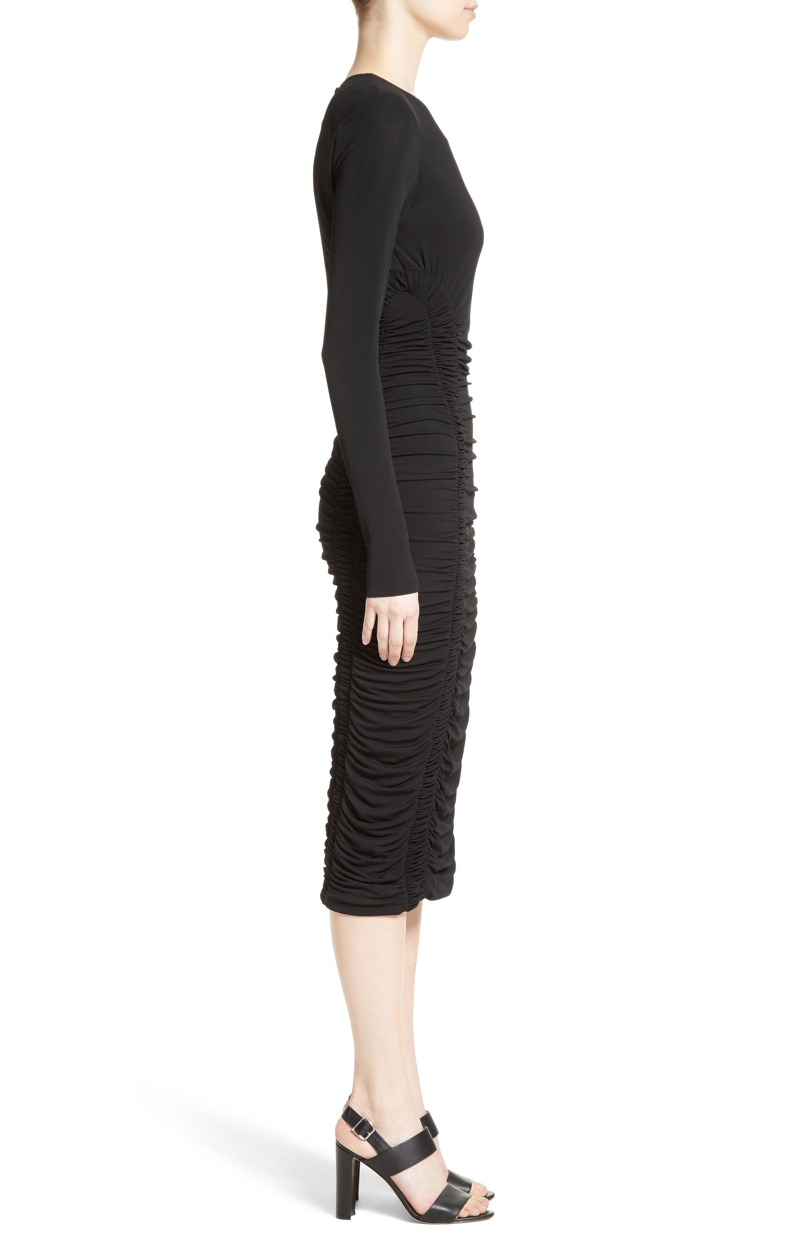 Ruched Stretch Jersey Dress,                             Alternate thumbnail 5, color,                             Black