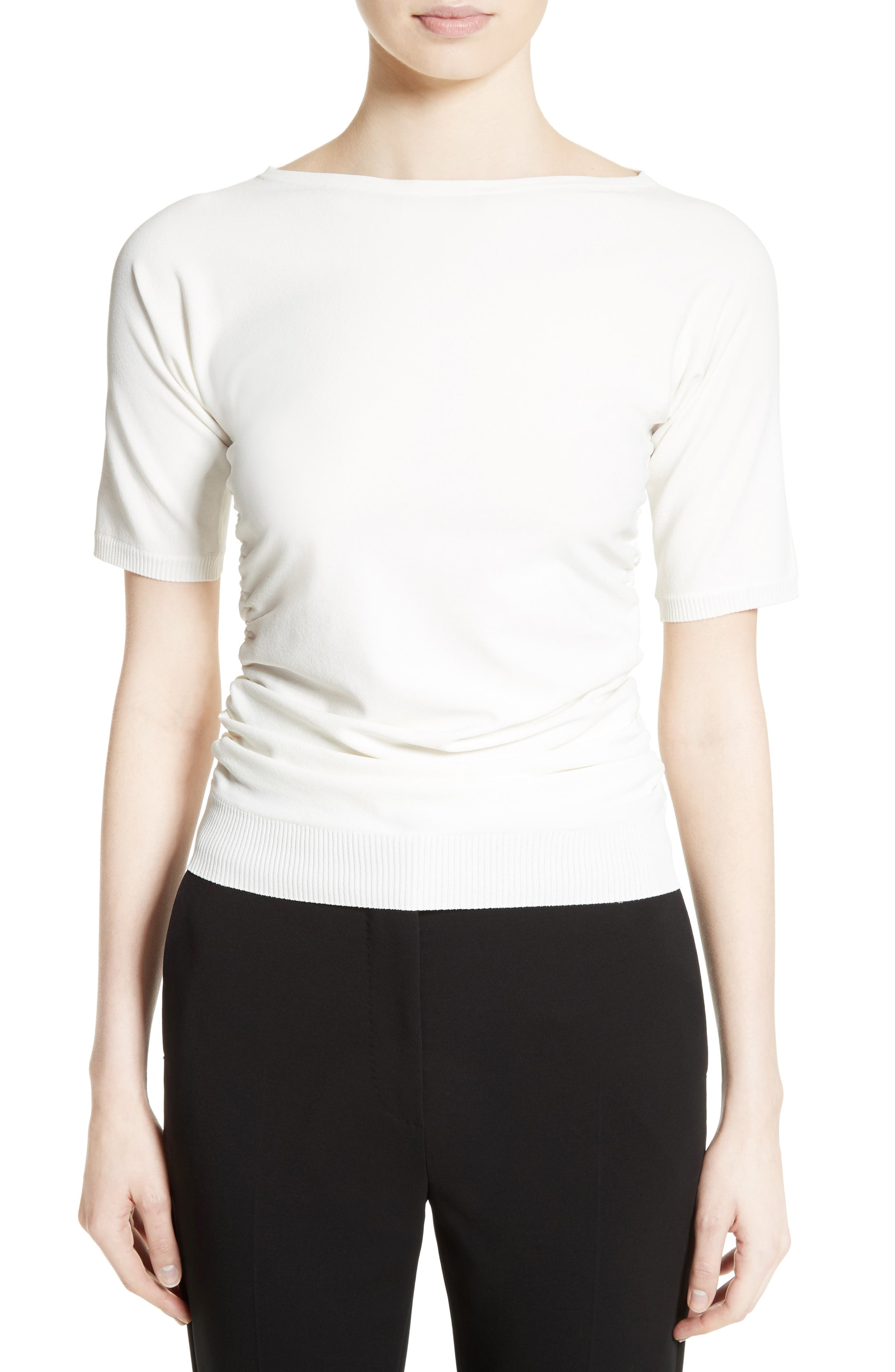 Joice Ruched Knit Top,                             Main thumbnail 1, color,                             White