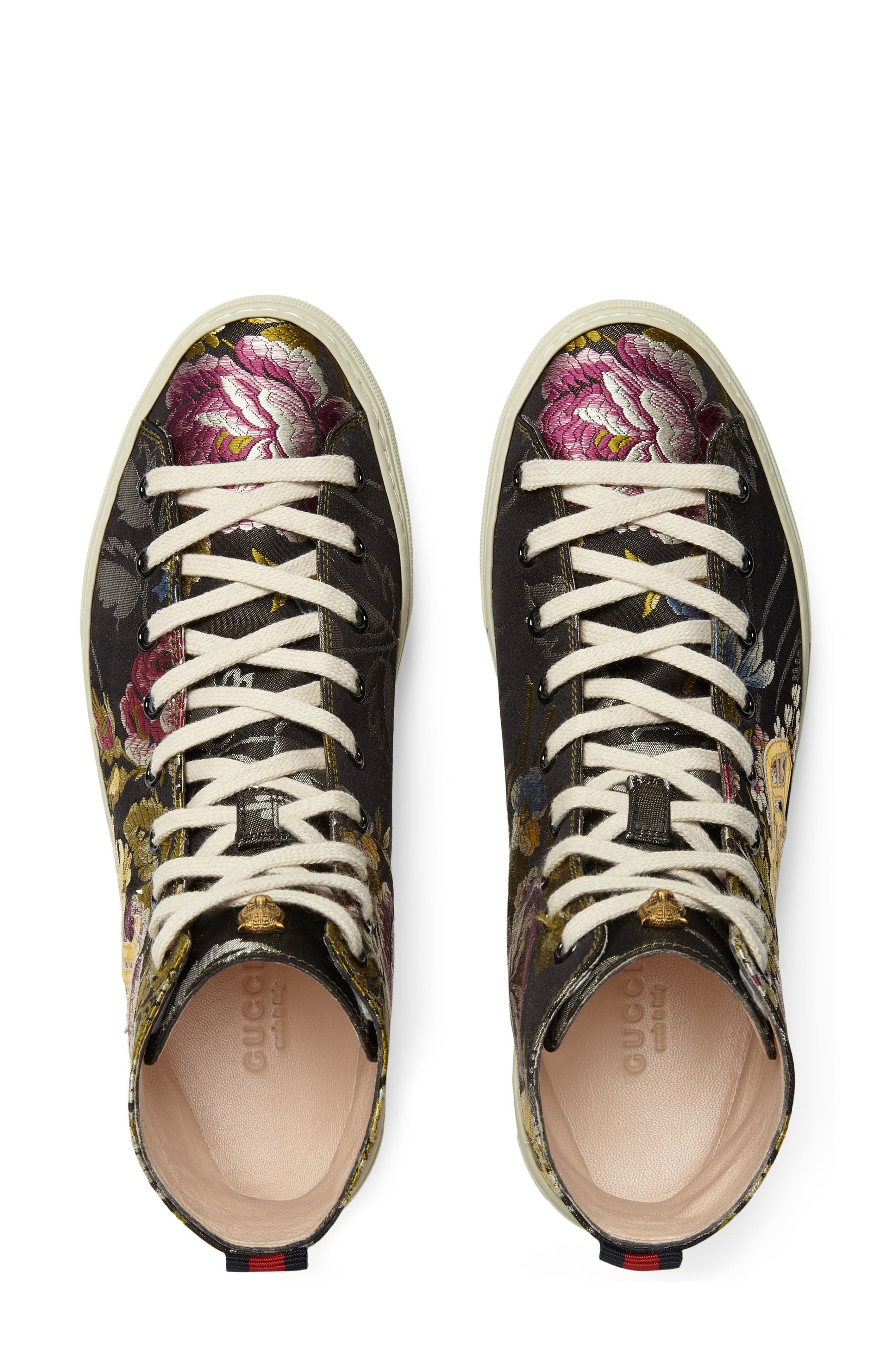 Floral High Top Sneaker,                             Alternate thumbnail 3, color,                             Black Floral