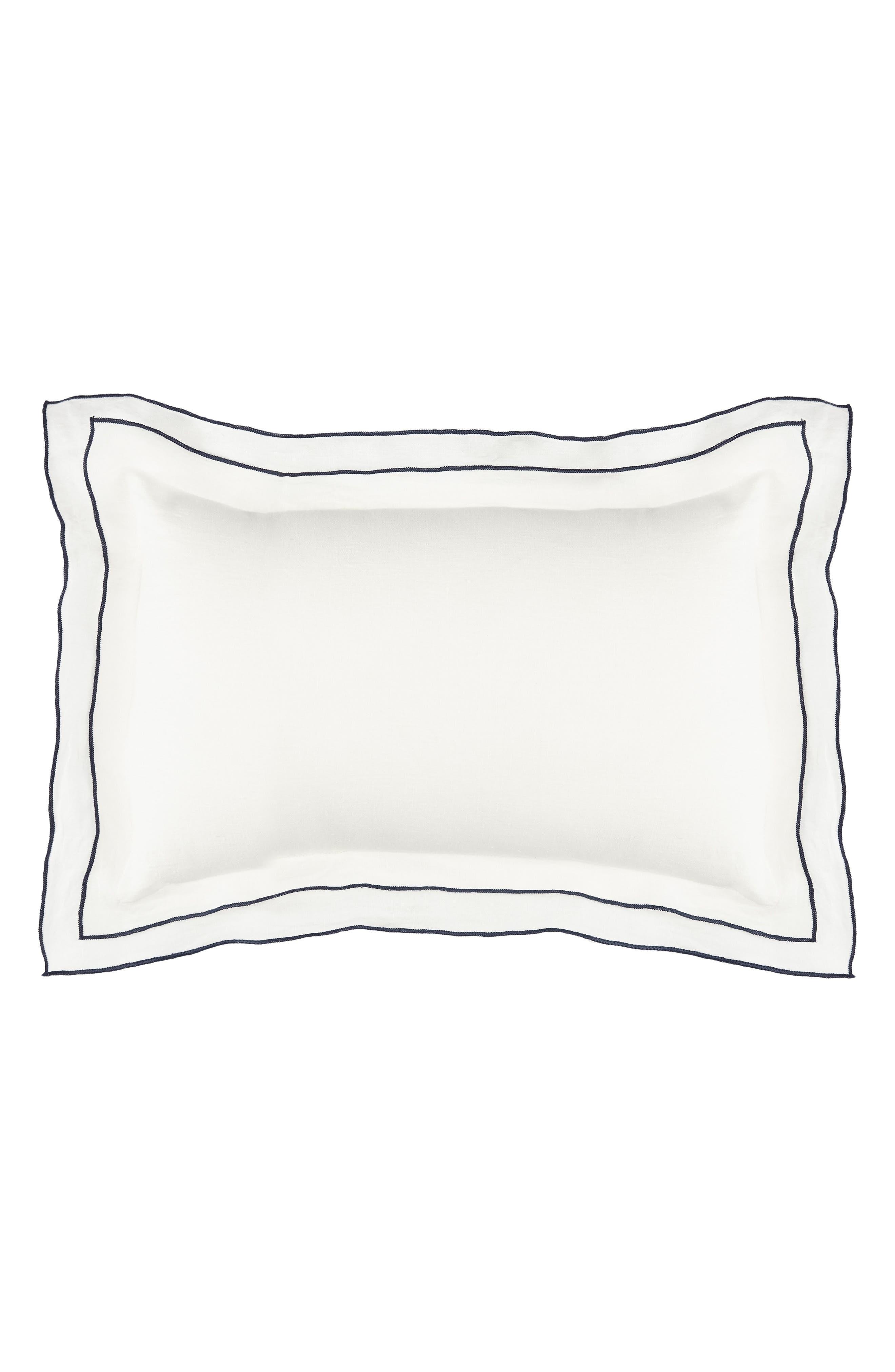 Biarritz Linen Accent Pillow,                         Main,                         color, White/ Indigo