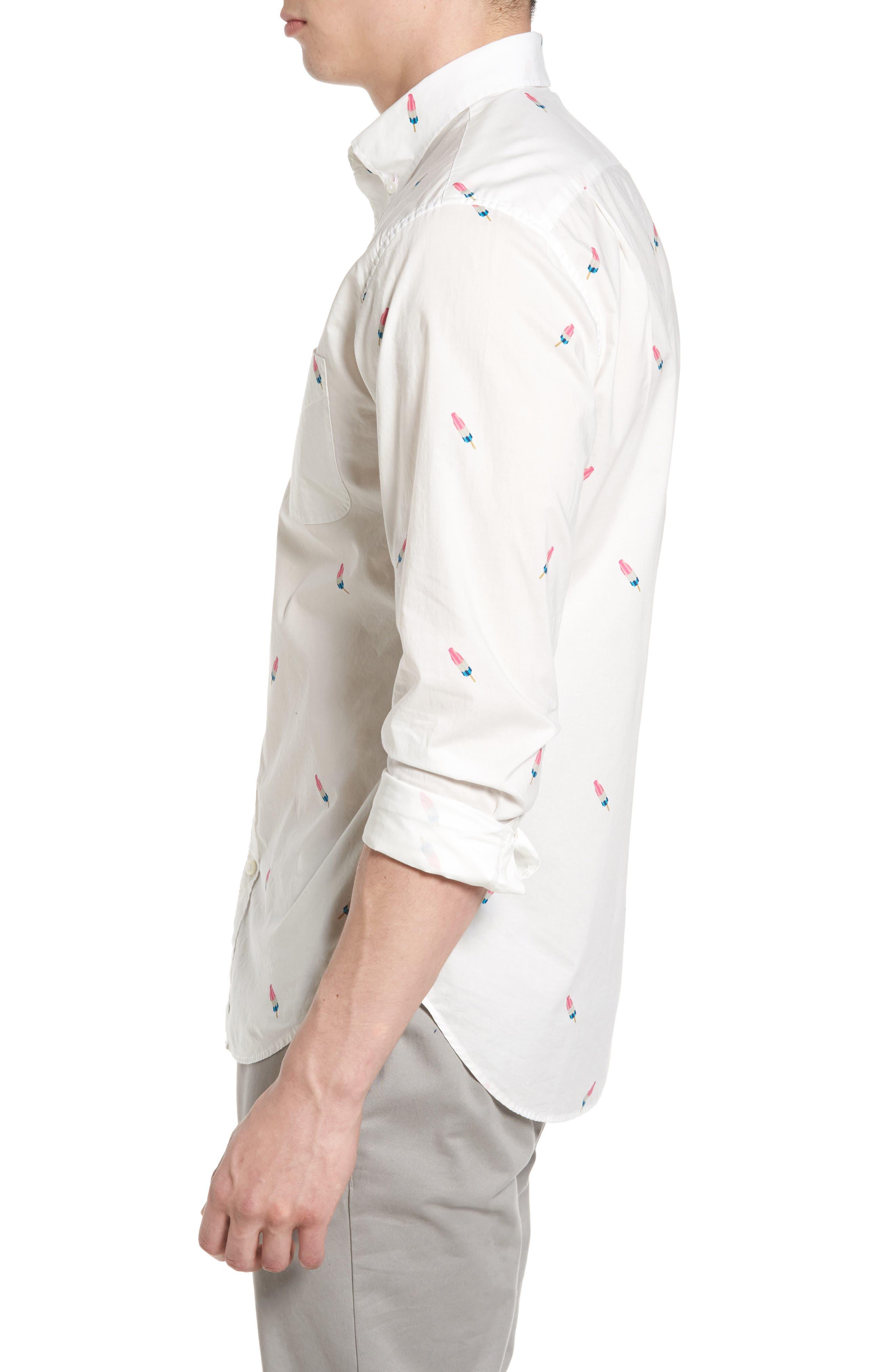 Summerweight Slim Fit Print Sport Shirt,                             Alternate thumbnail 3, color,                             Popsicle Print White