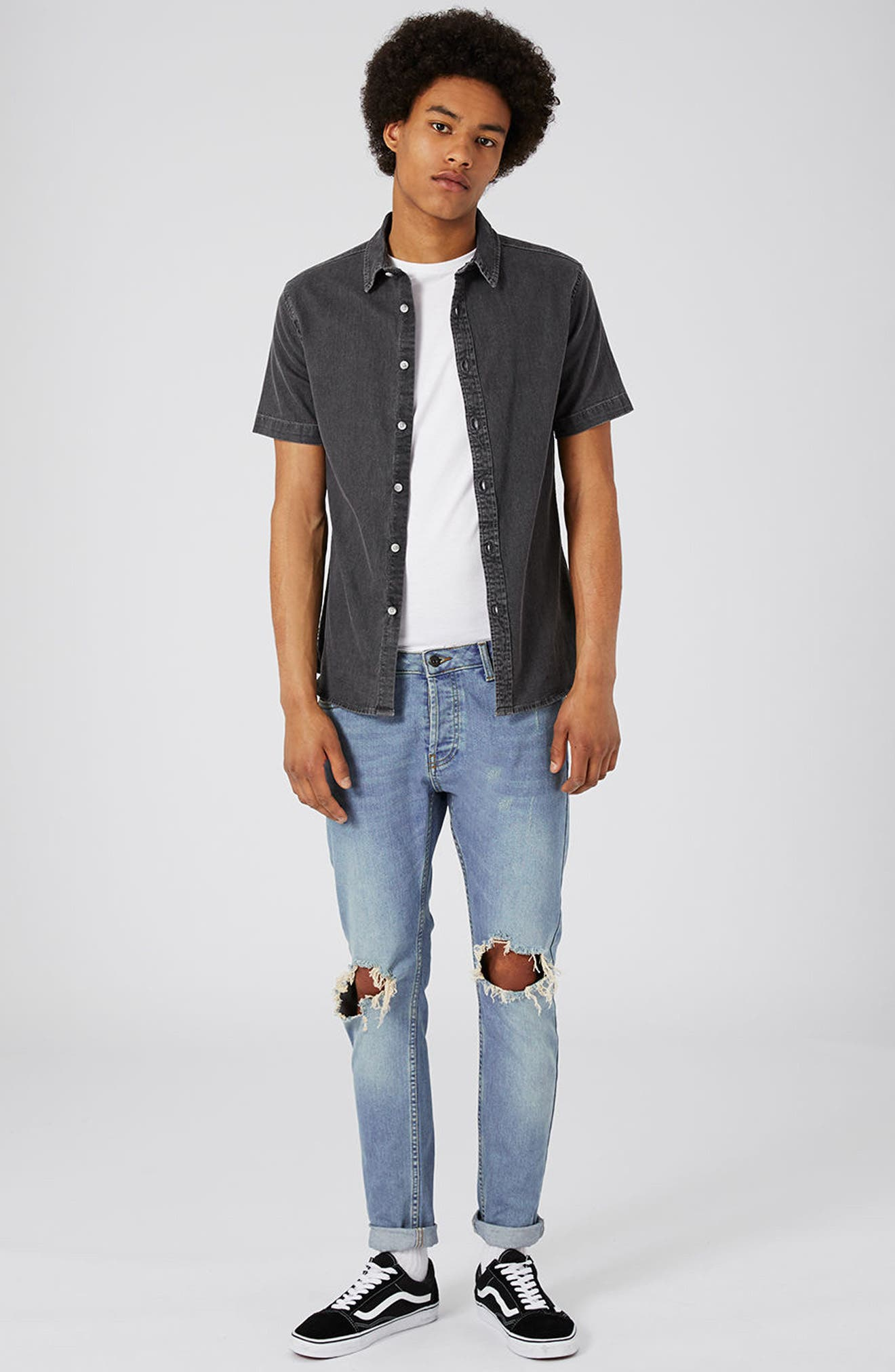 Alternate Image 2  - Topman Muscle Fit Denim Shirt