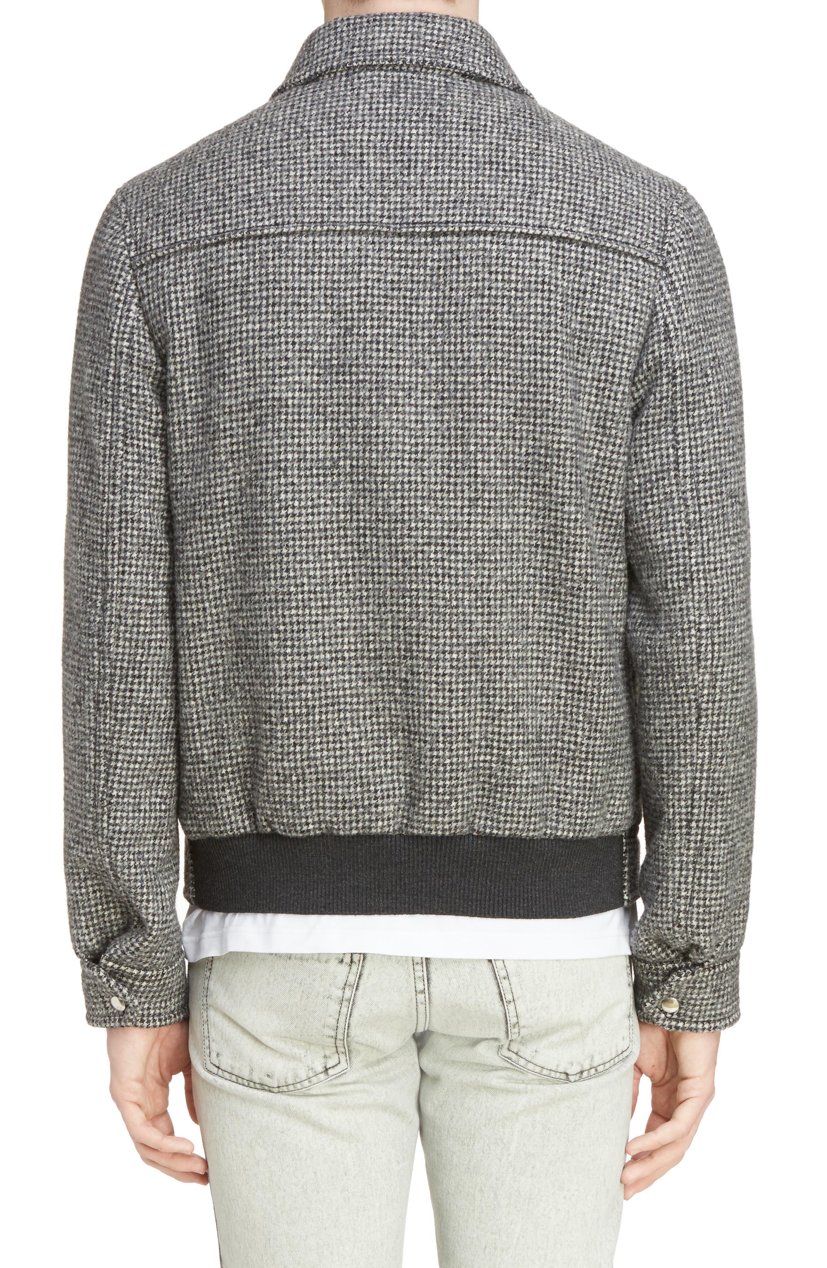 Houndstooth Wool Zip Front Jacket,                             Alternate thumbnail 2, color,                             Dark Grey