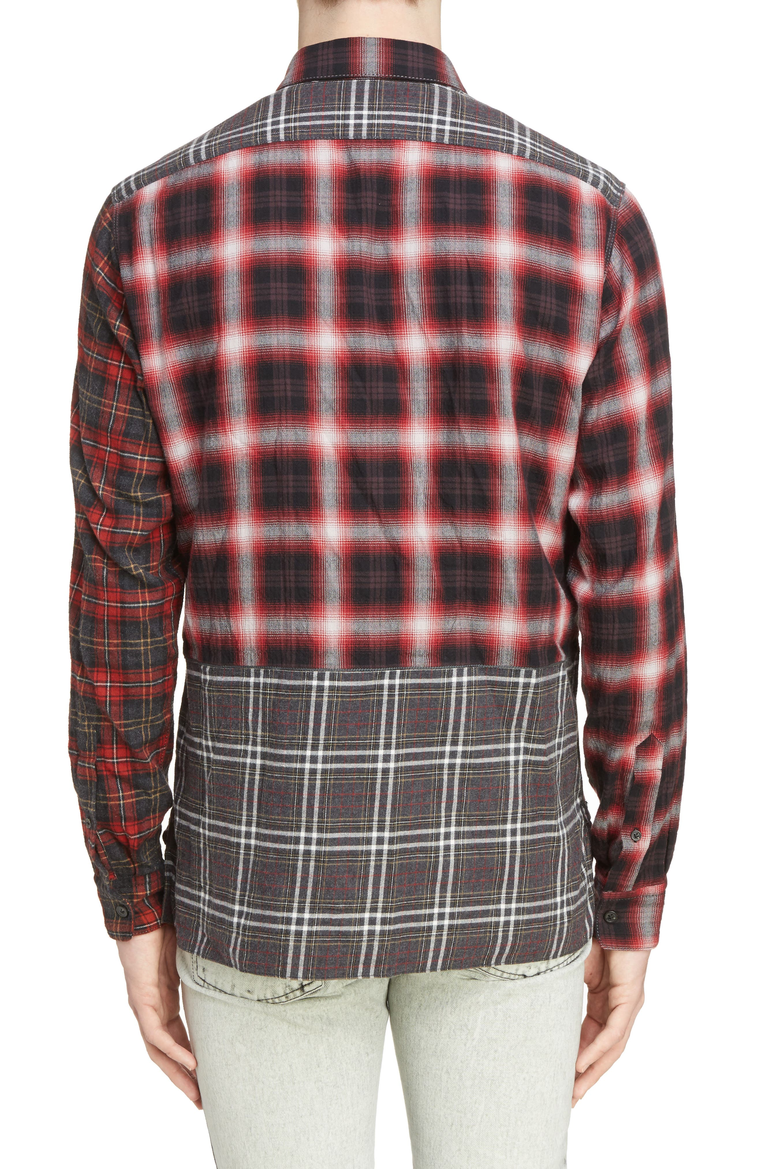 Pieced Plaid Flannel Shirt,                             Alternate thumbnail 2, color,                             Grey/ Red