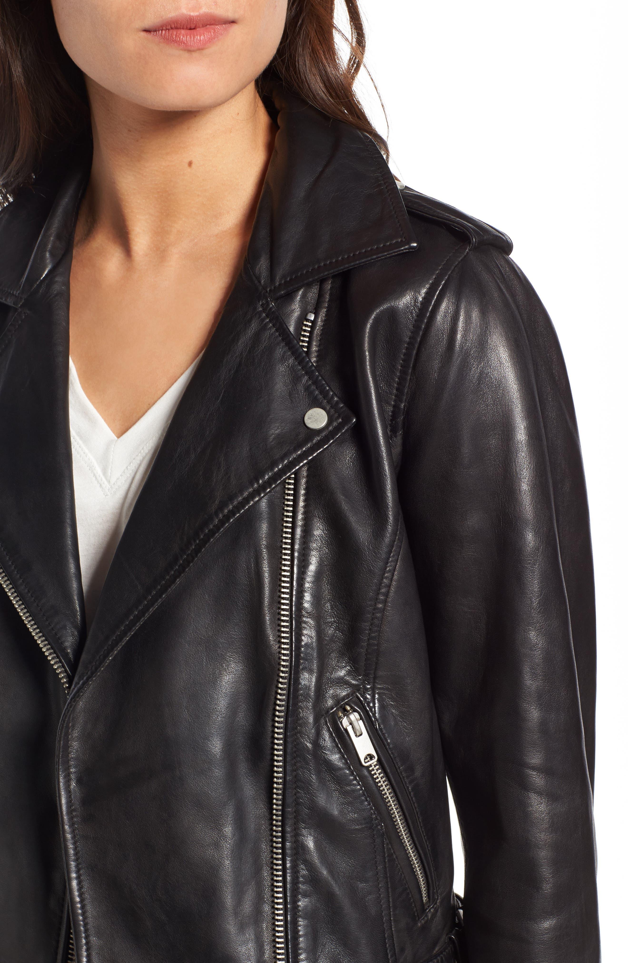 Andrew Marc Wesley Washed Leather Biker Jacket,                             Alternate thumbnail 4, color,                             Black