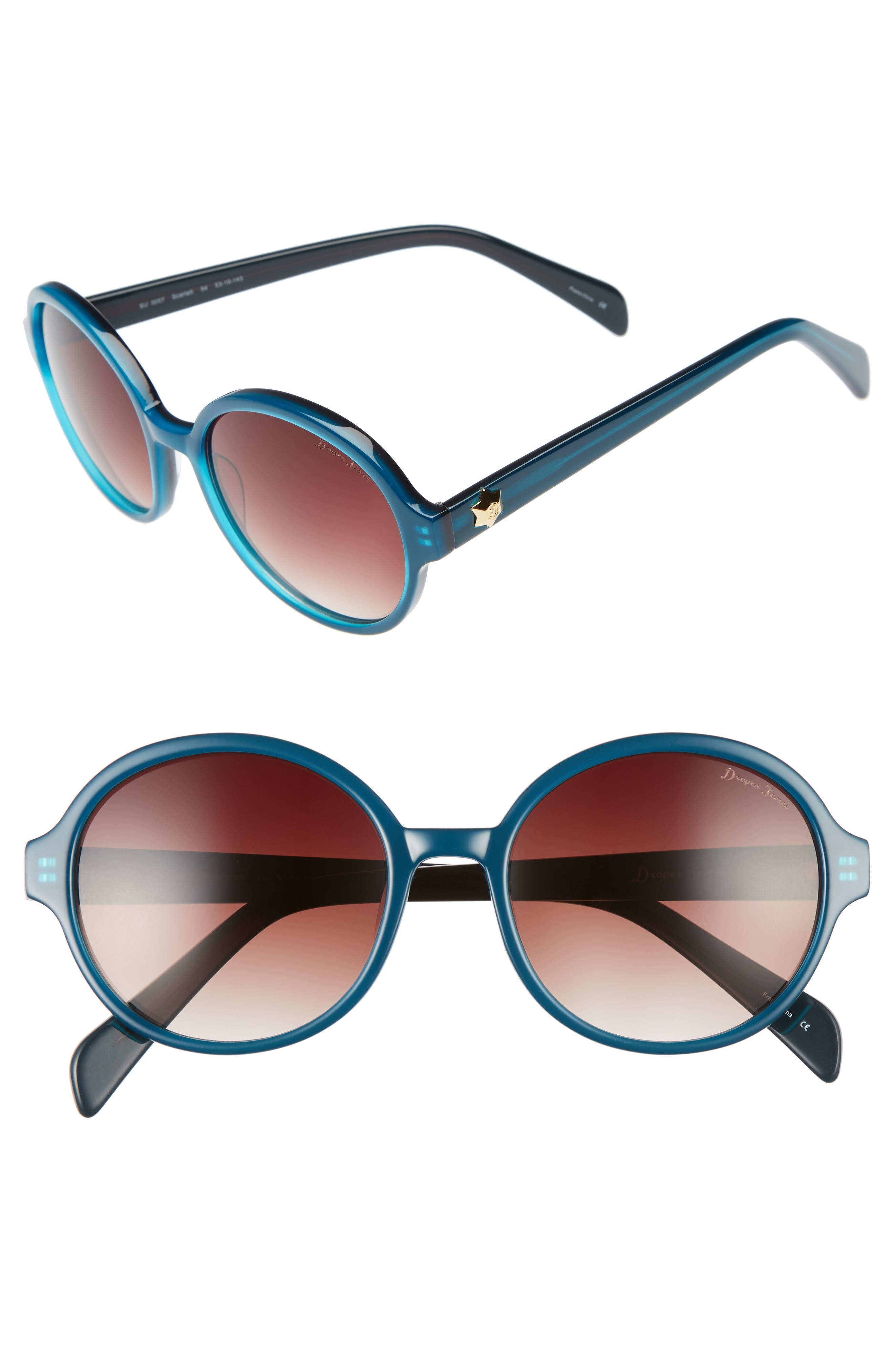 DRAPER JAMES 53mm Round Gradient Sunglasses