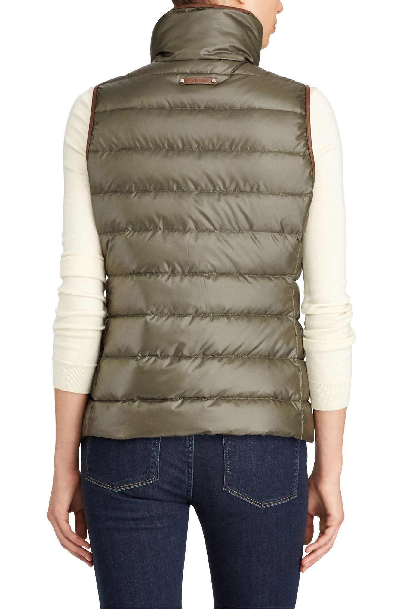 Quilted Down Vest,                             Alternate thumbnail 3, color,                             Soft Loden