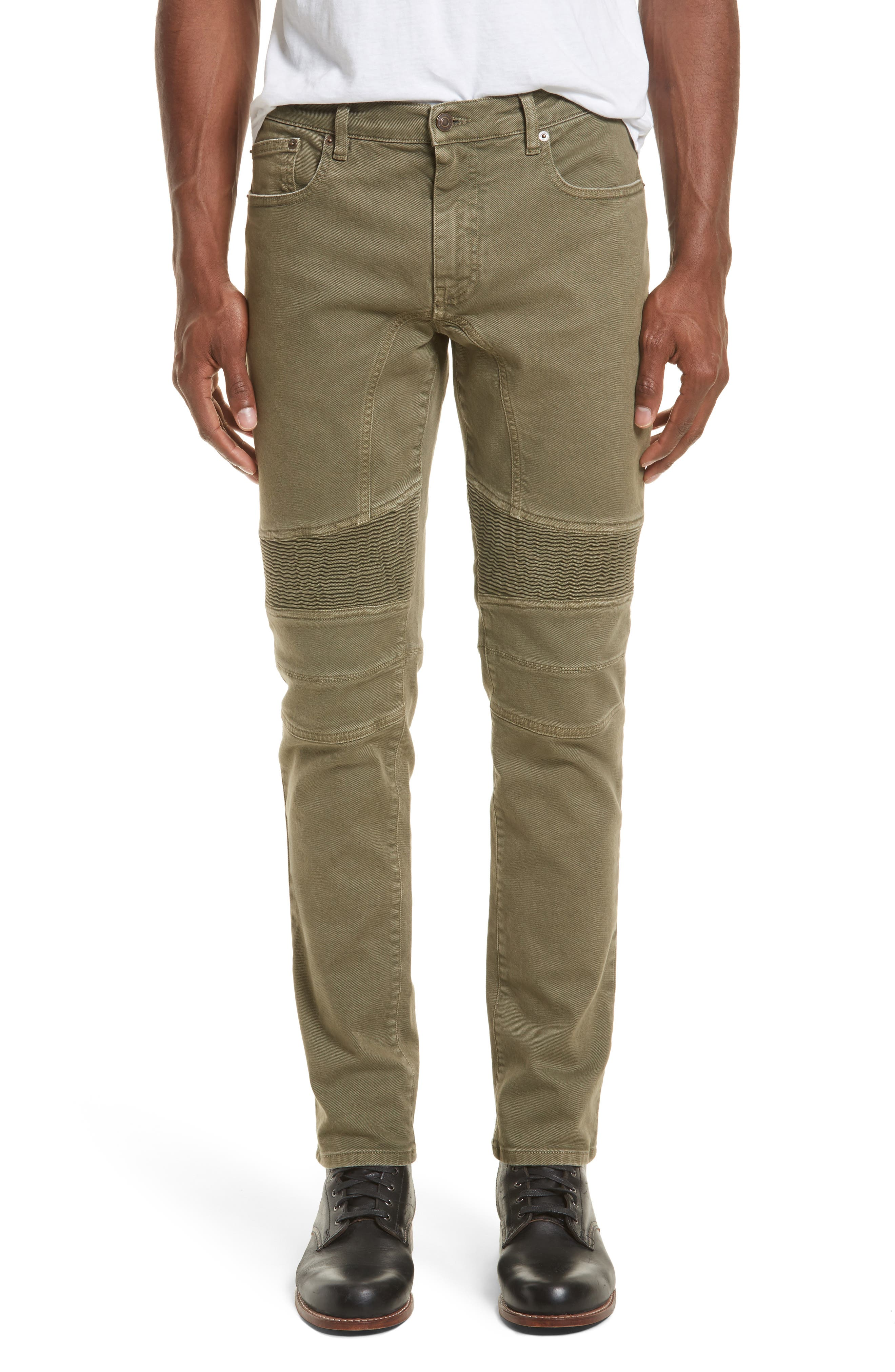 Eastham Tapered Moto Jeans,                         Main,                         color, Bay Leaf