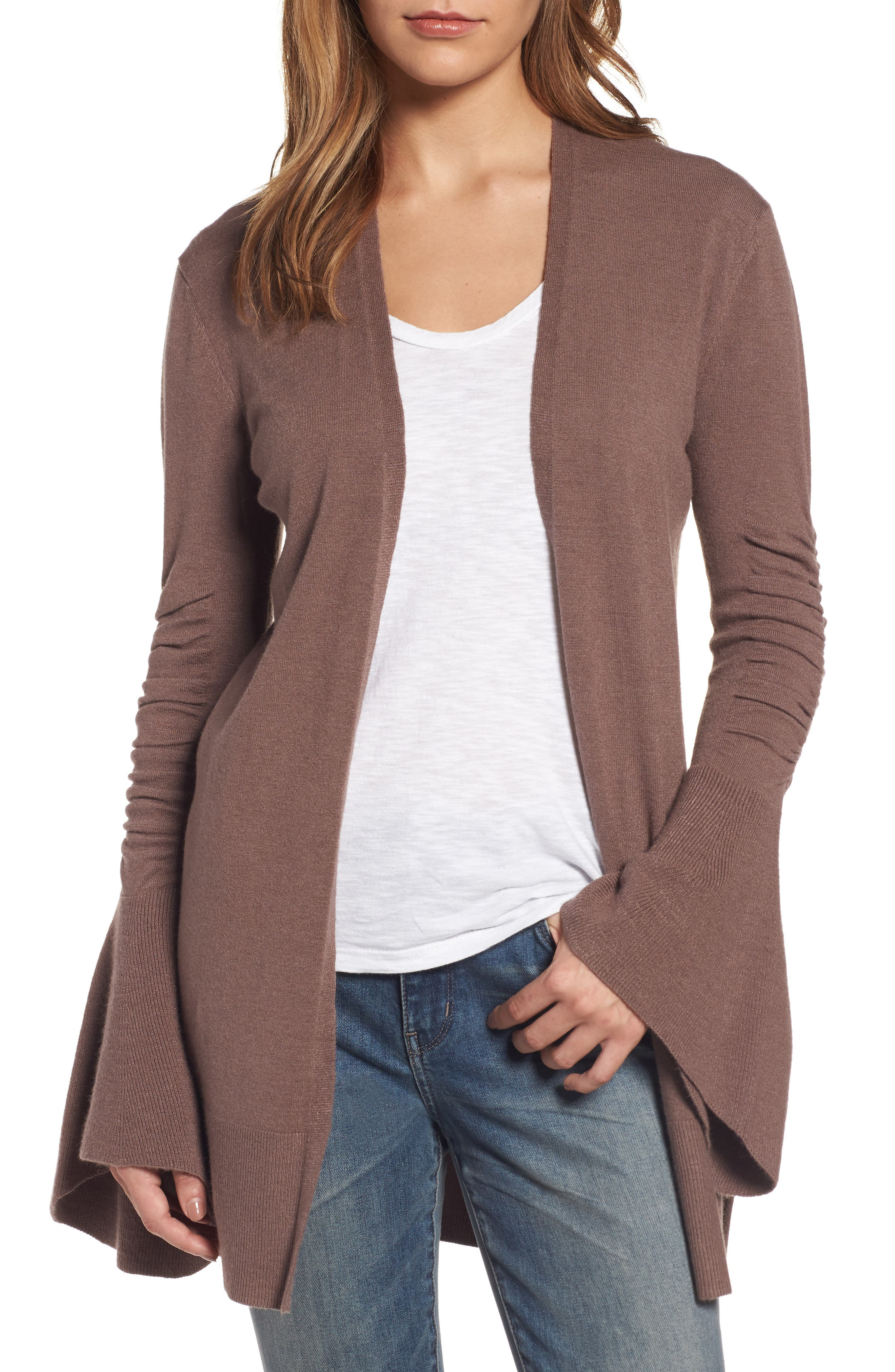 Ruched Bell Sleeve Cardigan,                         Main,                         color, Brown Taupe