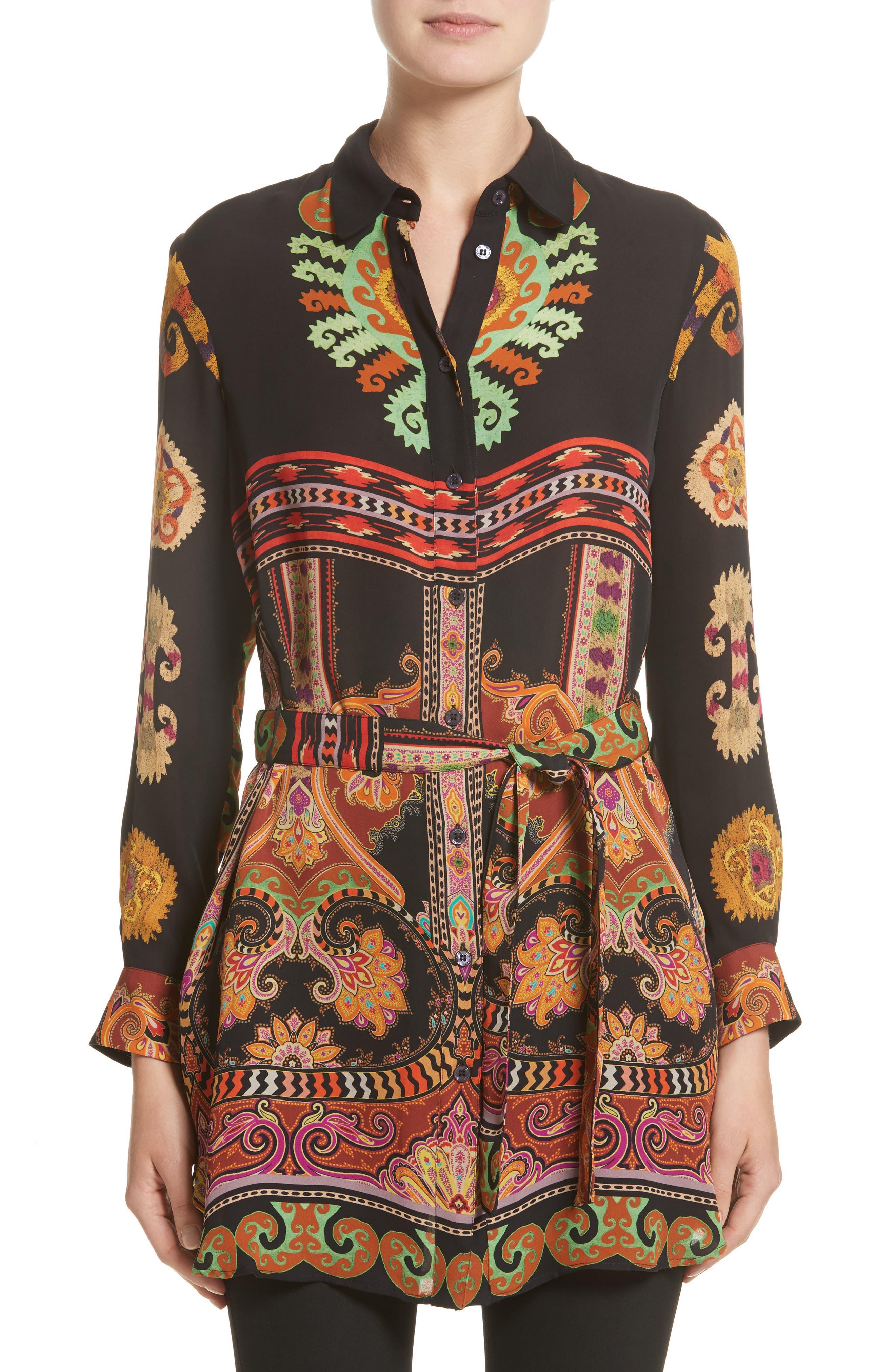 Suzani Print Silk Tunic,                             Main thumbnail 1, color,                             Black