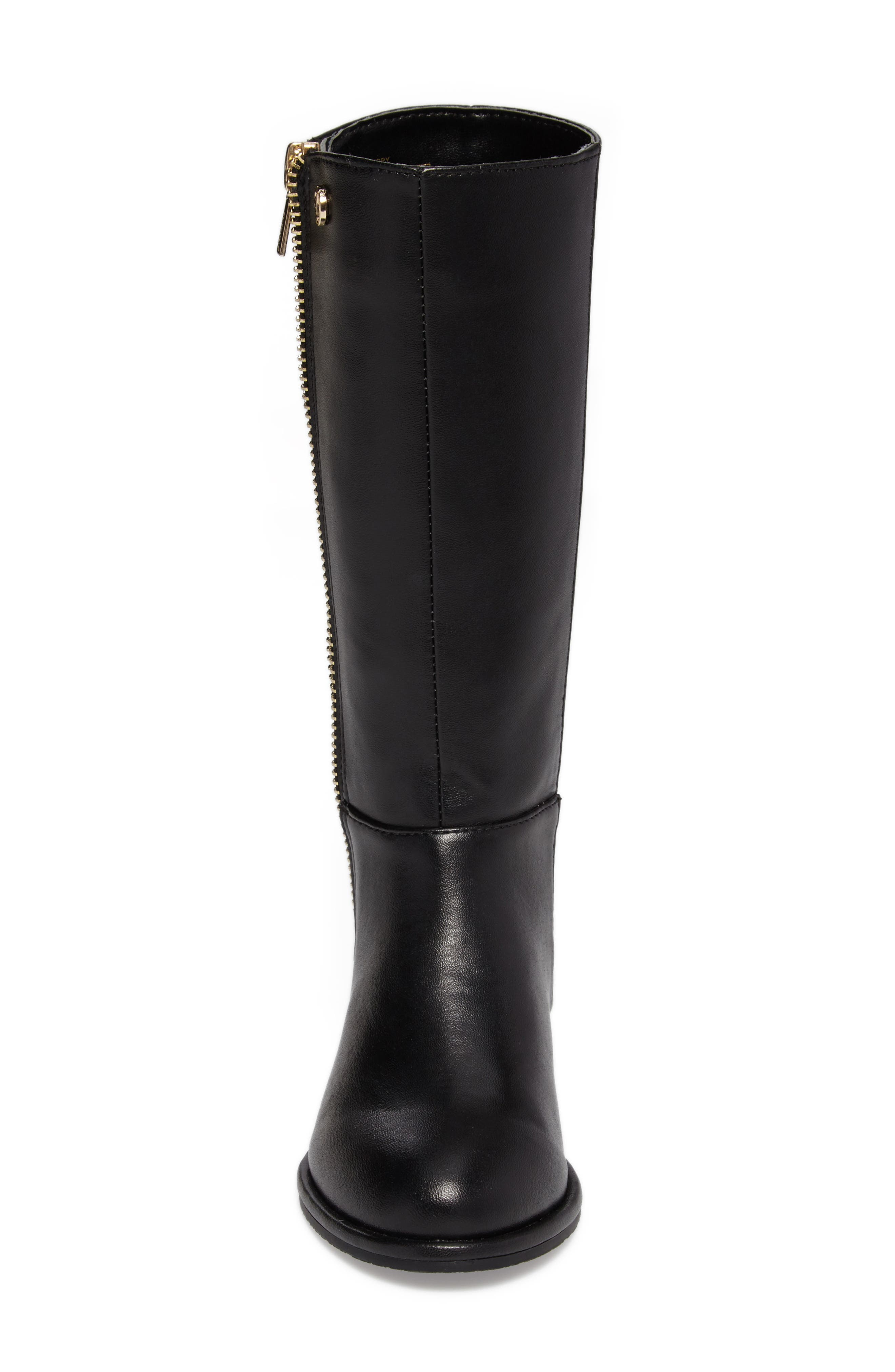 Lowland Riding Boot,                             Alternate thumbnail 4, color,                             Black Faux Leather