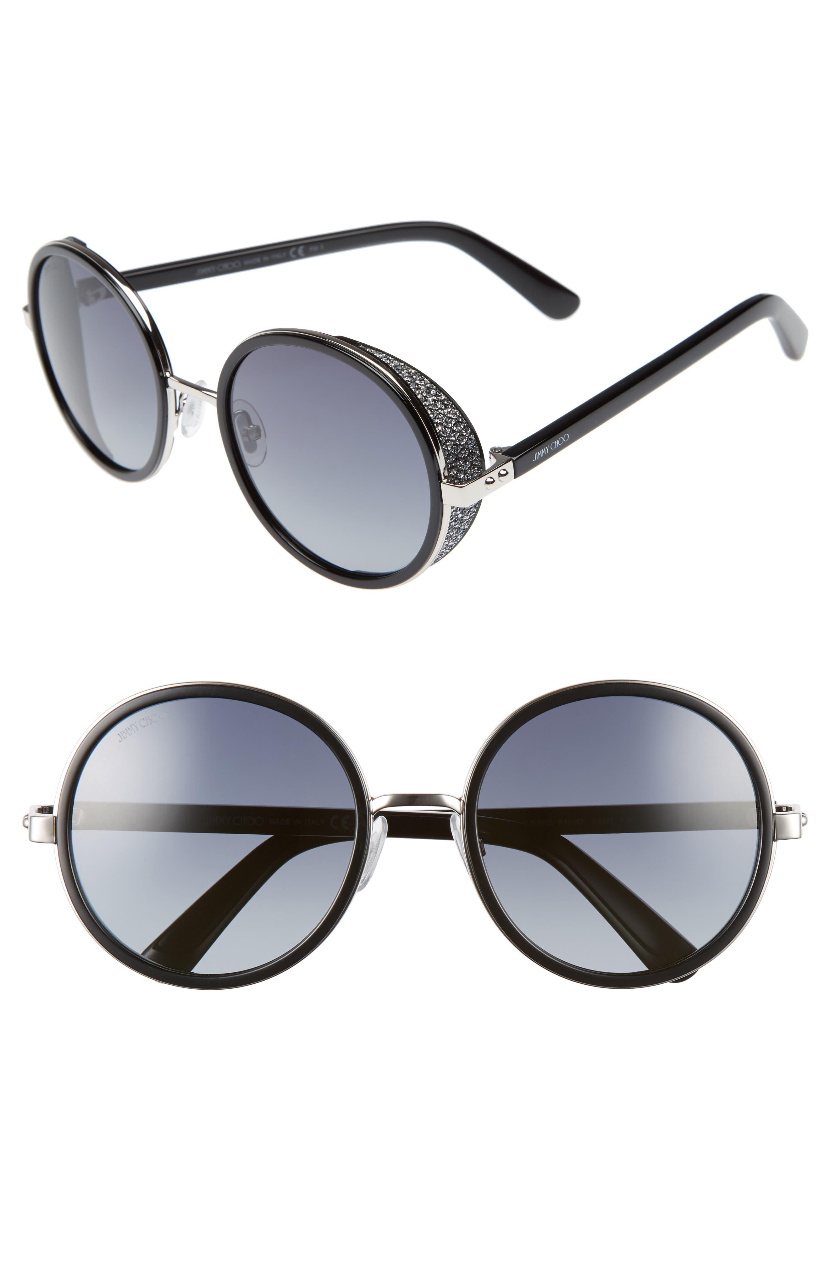 Andiens 54mm Round Sunglasses,                             Main thumbnail 1, color,                             Palladium/ Black