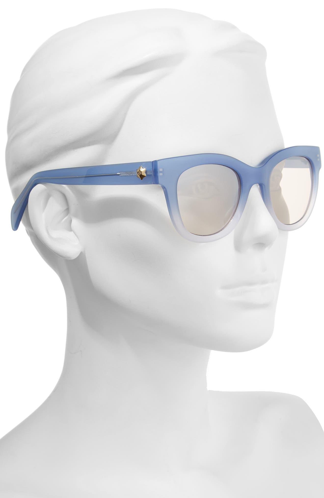 50mm Gradient Lens Cat Eye Sunglasses,                             Alternate thumbnail 3, color,                             Blue