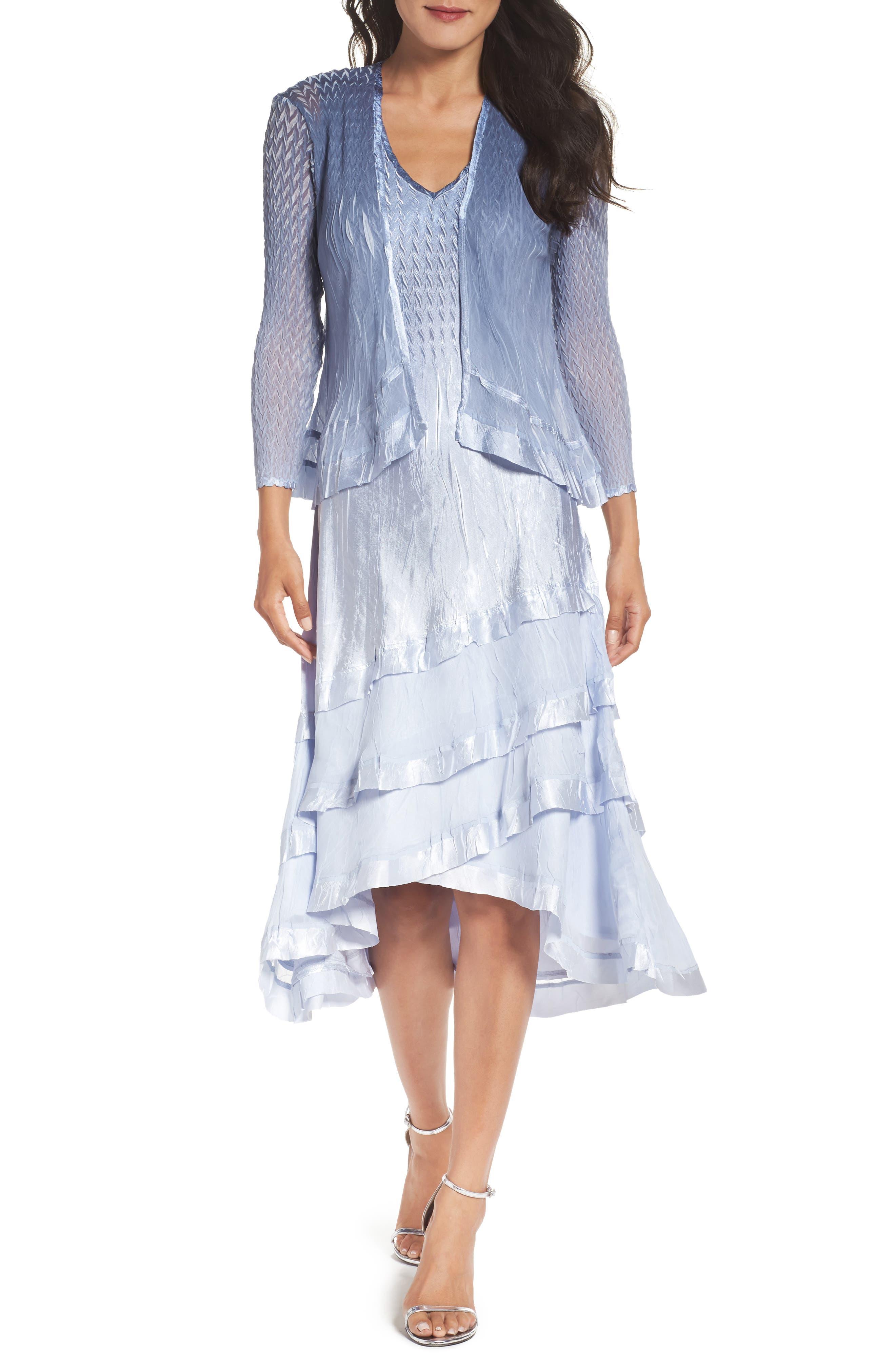 Alternate Image 1 Selected - Komarov Tiered Dress with Jacket (Regular & Petite)