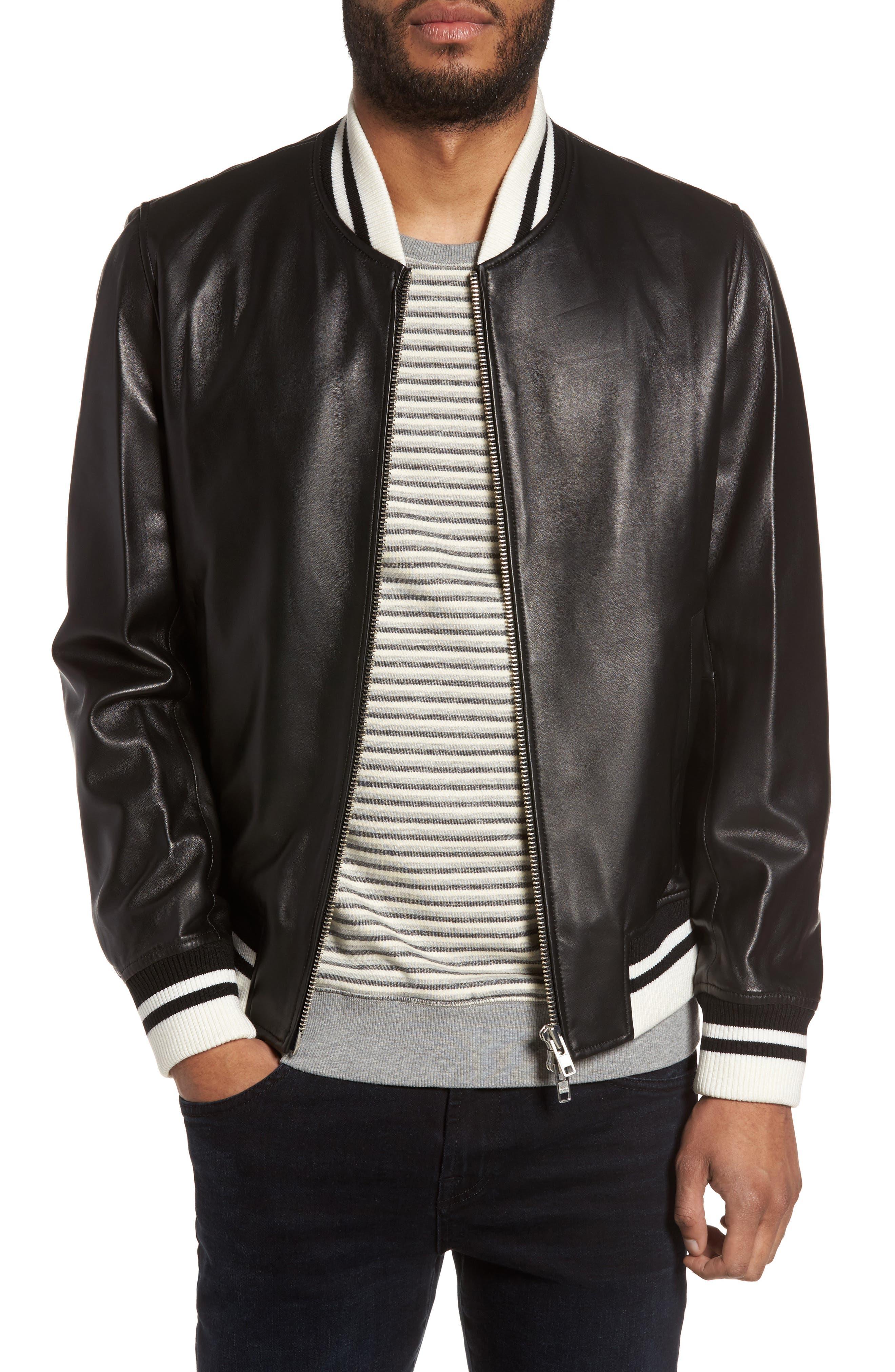 Slate & Stone Leather Bomber Jacket