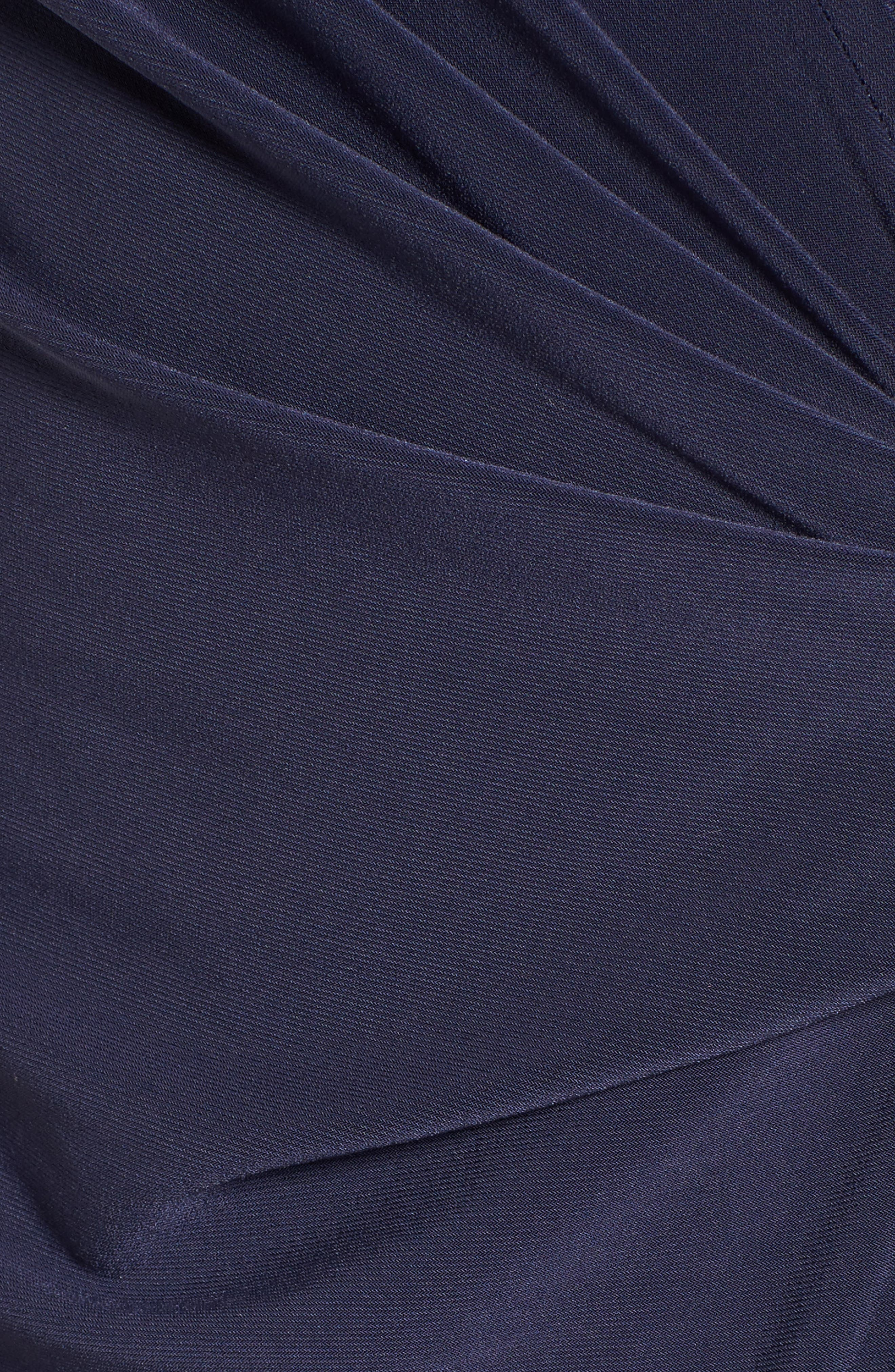 Jersey Faux Wrap Dress,                             Alternate thumbnail 5, color,                             Dark Indigo