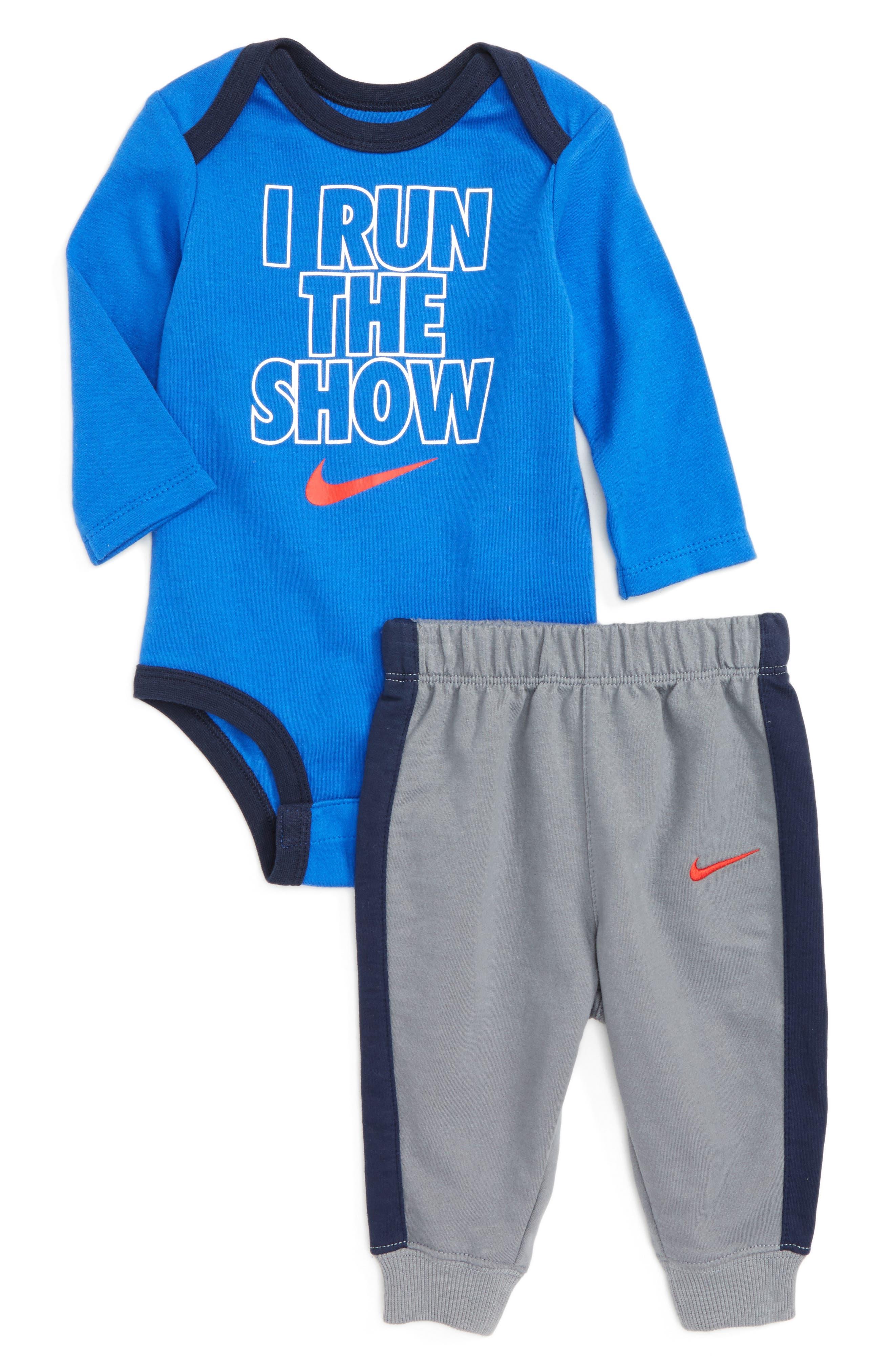 Bodysuit & Jogger Pants Set,                             Main thumbnail 1, color,                             Cool Grey