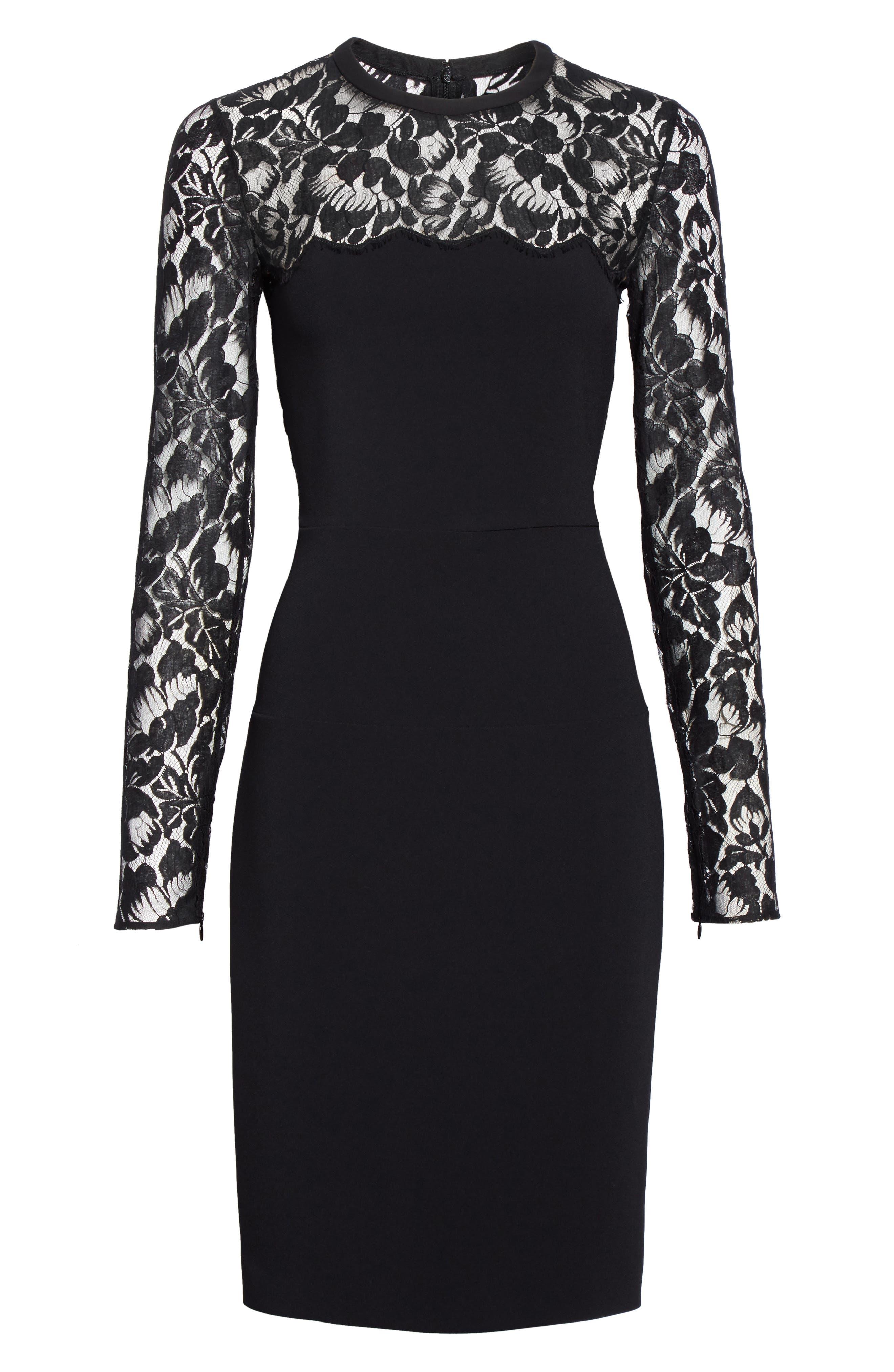 Lace Illusion Sheath Dress,                             Alternate thumbnail 4, color,                             Black