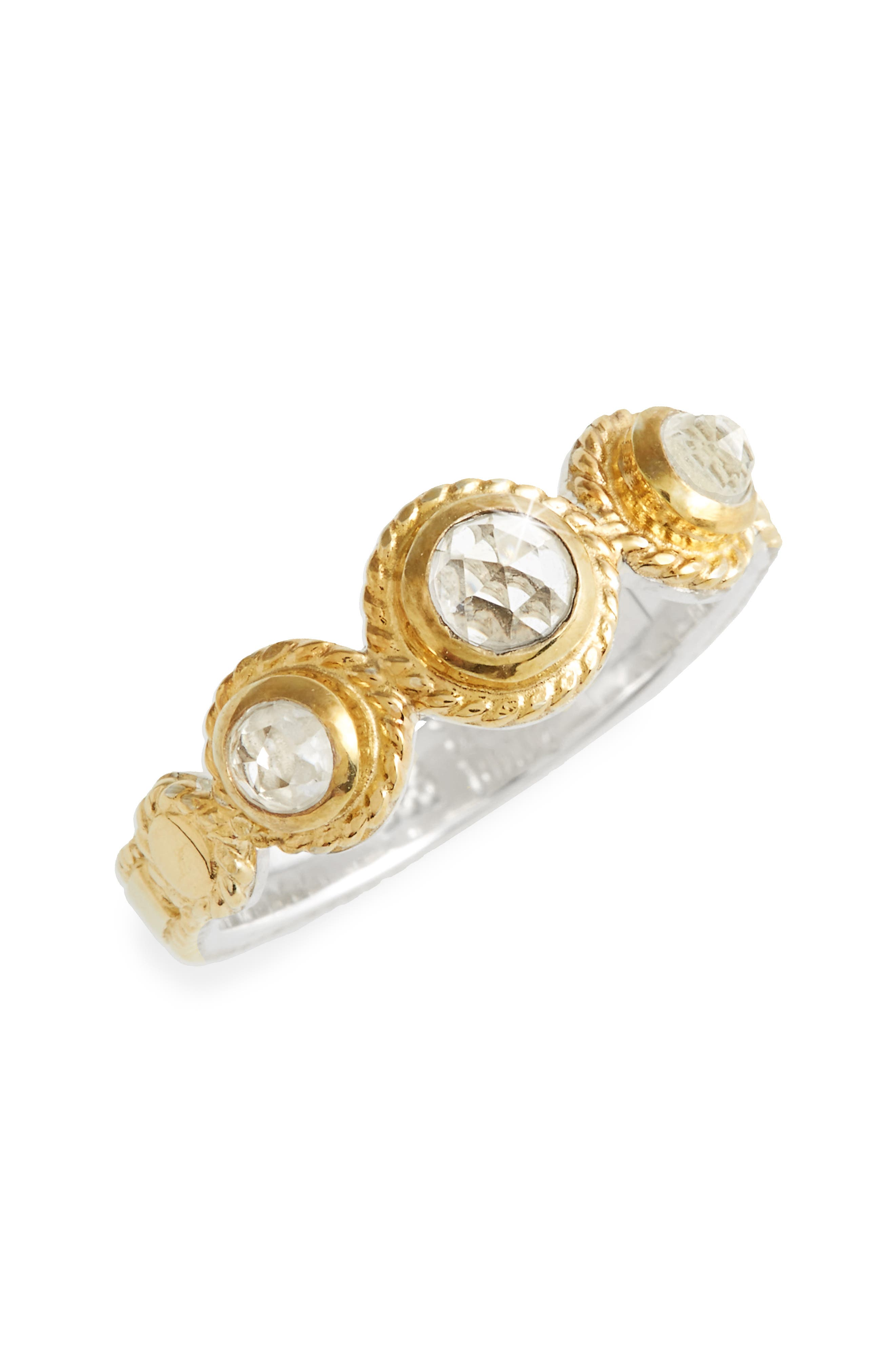Crystal Quartz Triple Stone Band Ring,                         Main,                         color, Gold/ Silver
