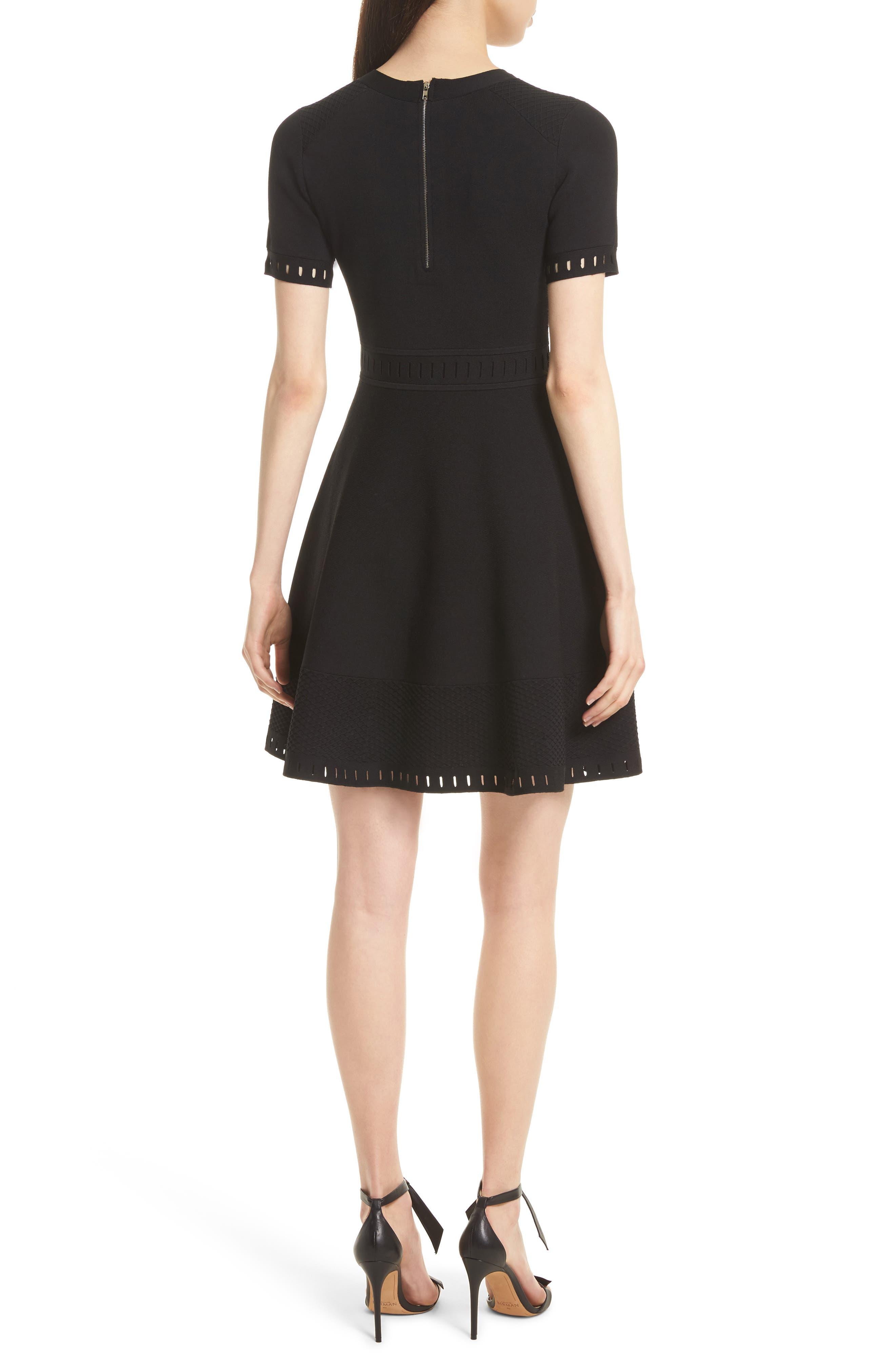 Texture Knit Fit & Flare Dress,                             Alternate thumbnail 2, color,                             Black