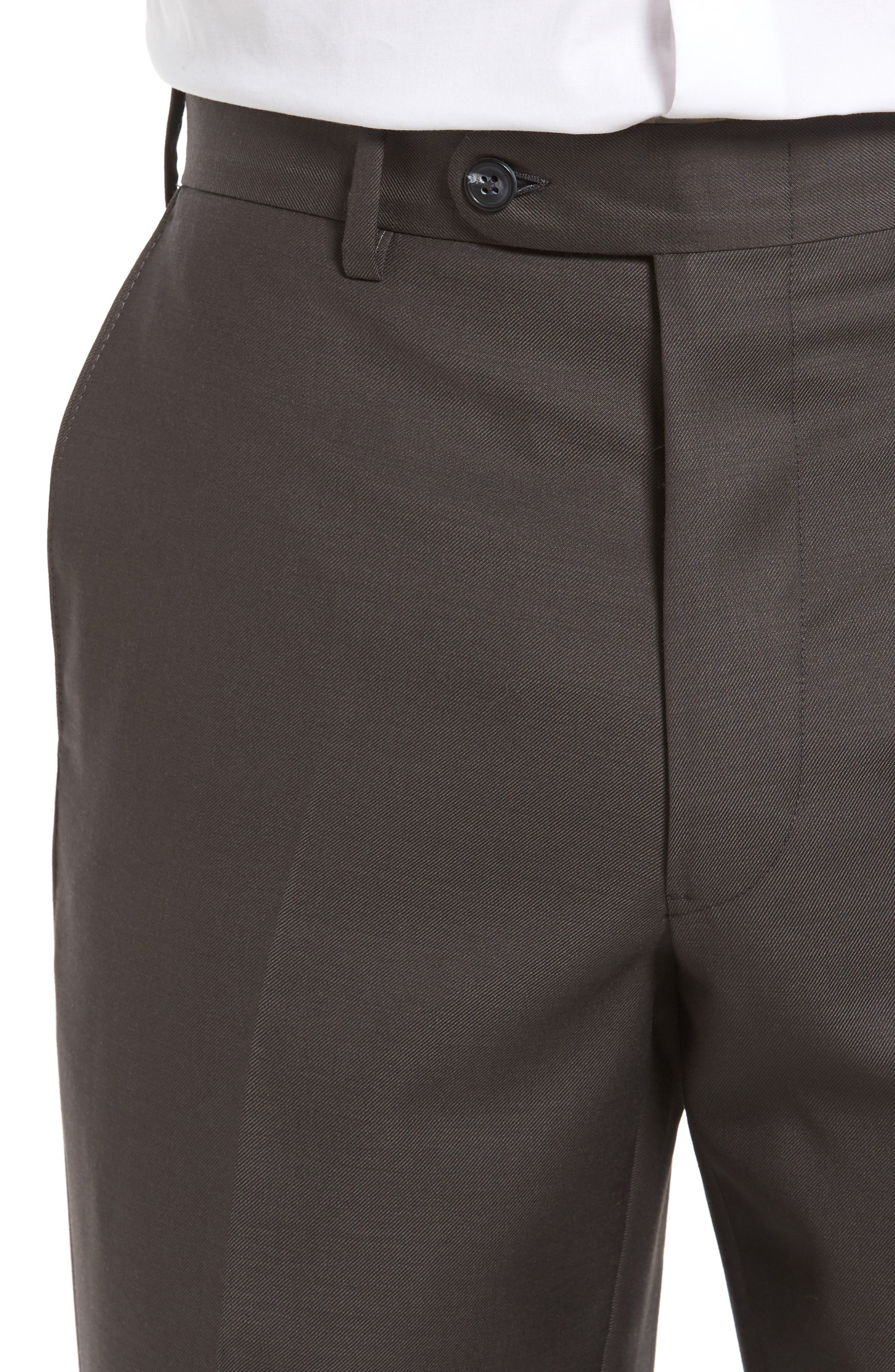 Flat Front Worsted Wool Trousers,                             Alternate thumbnail 4, color,                             Dark Taupe