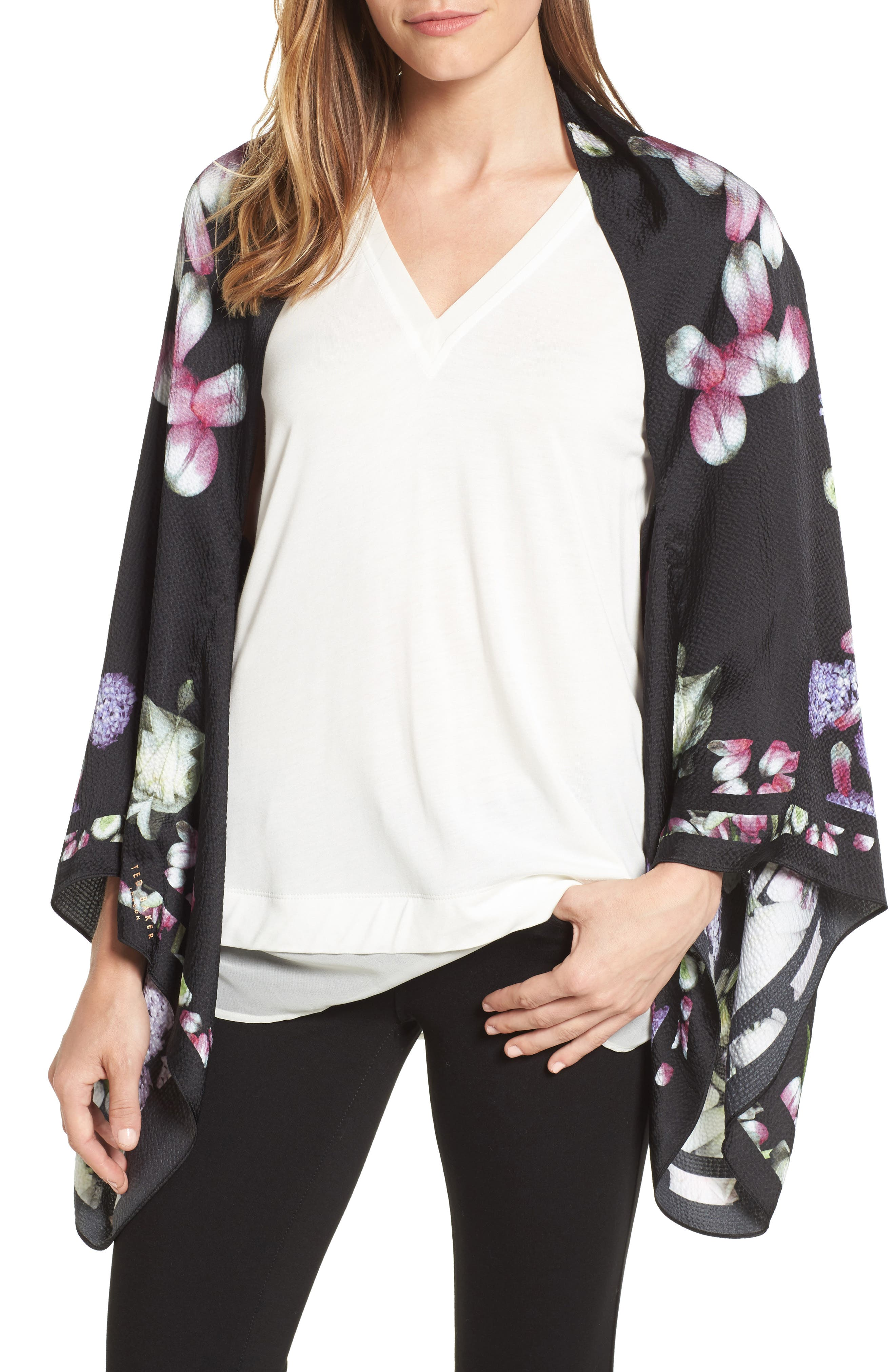 Ted Baker London Kensington Floral Silk Cape