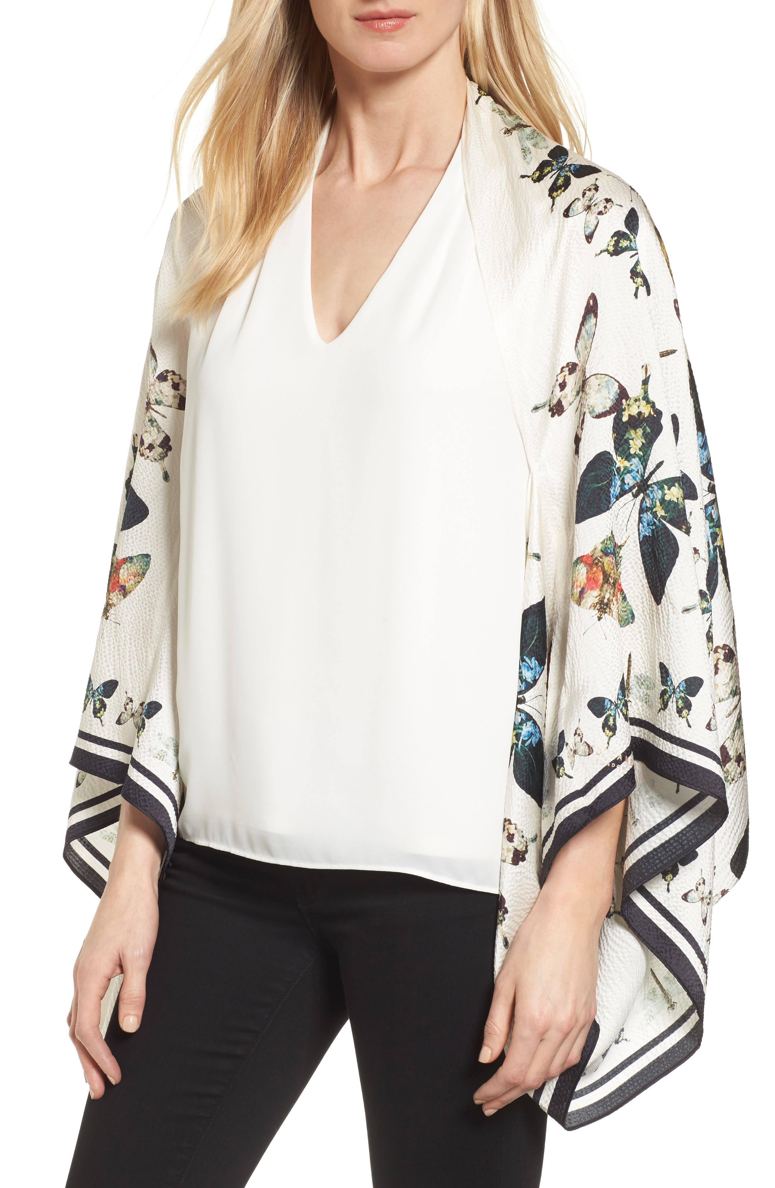 Butterfly Kaleidoscope Silk Cape Scarf,                         Main,                         color, White