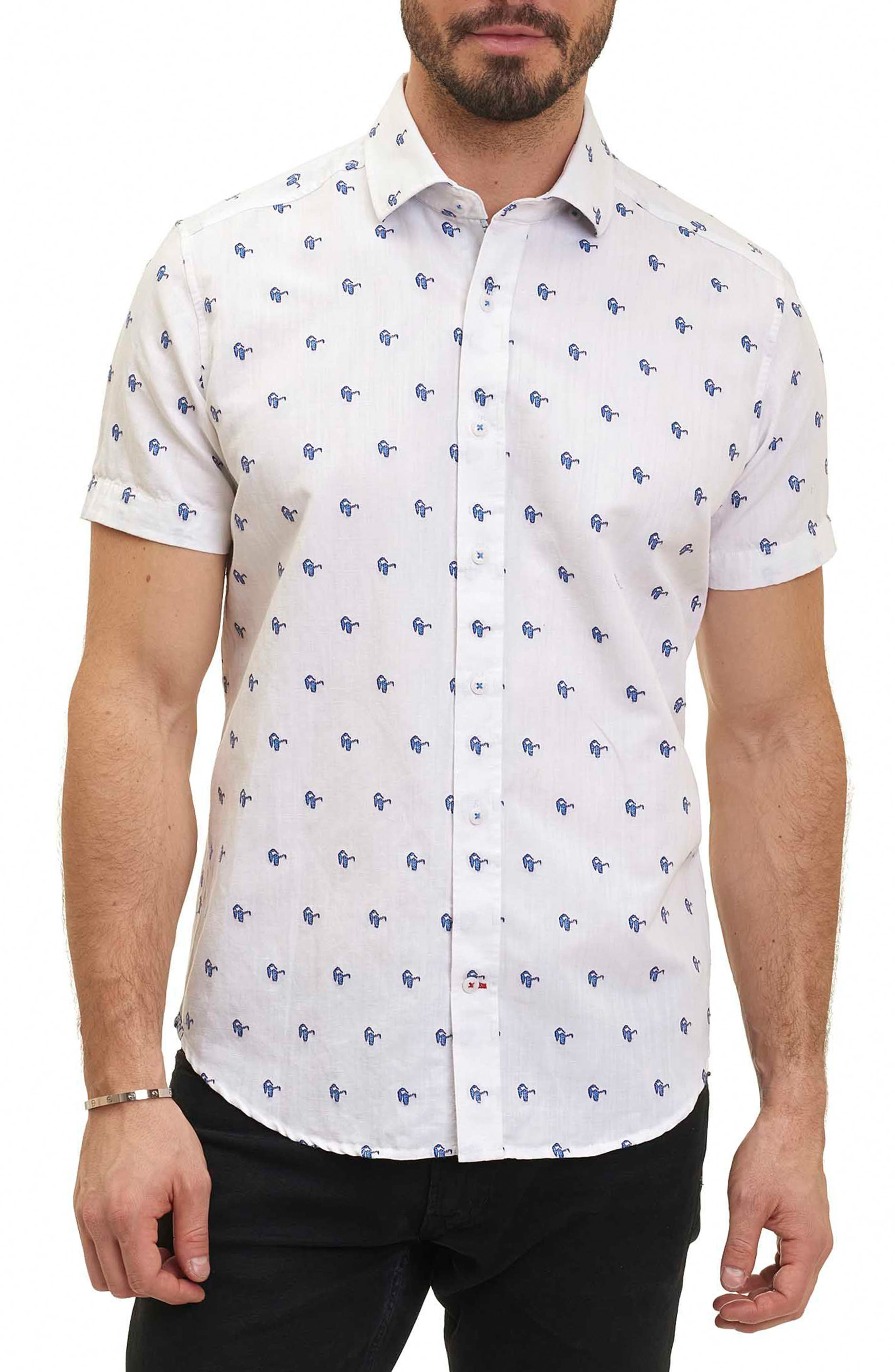 Tareck Tailored Fit Short Sleeve Sport Shirt,                         Main,                         color, White