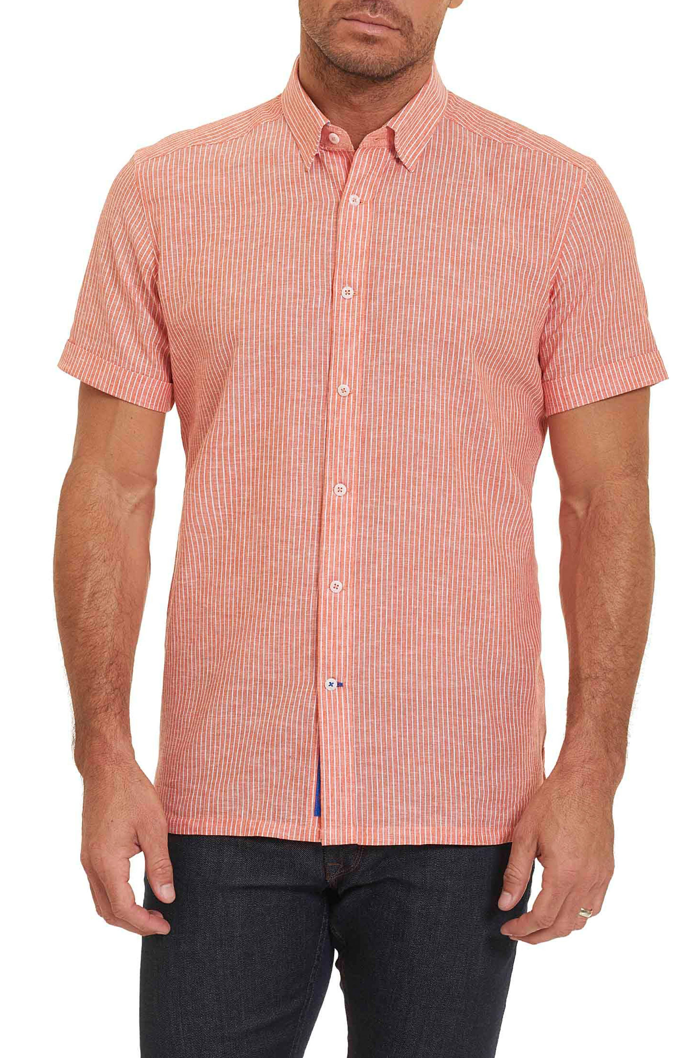 Tailored Fit Stripe Short Sleeve Sport Shirt,                         Main,                         color, Orange