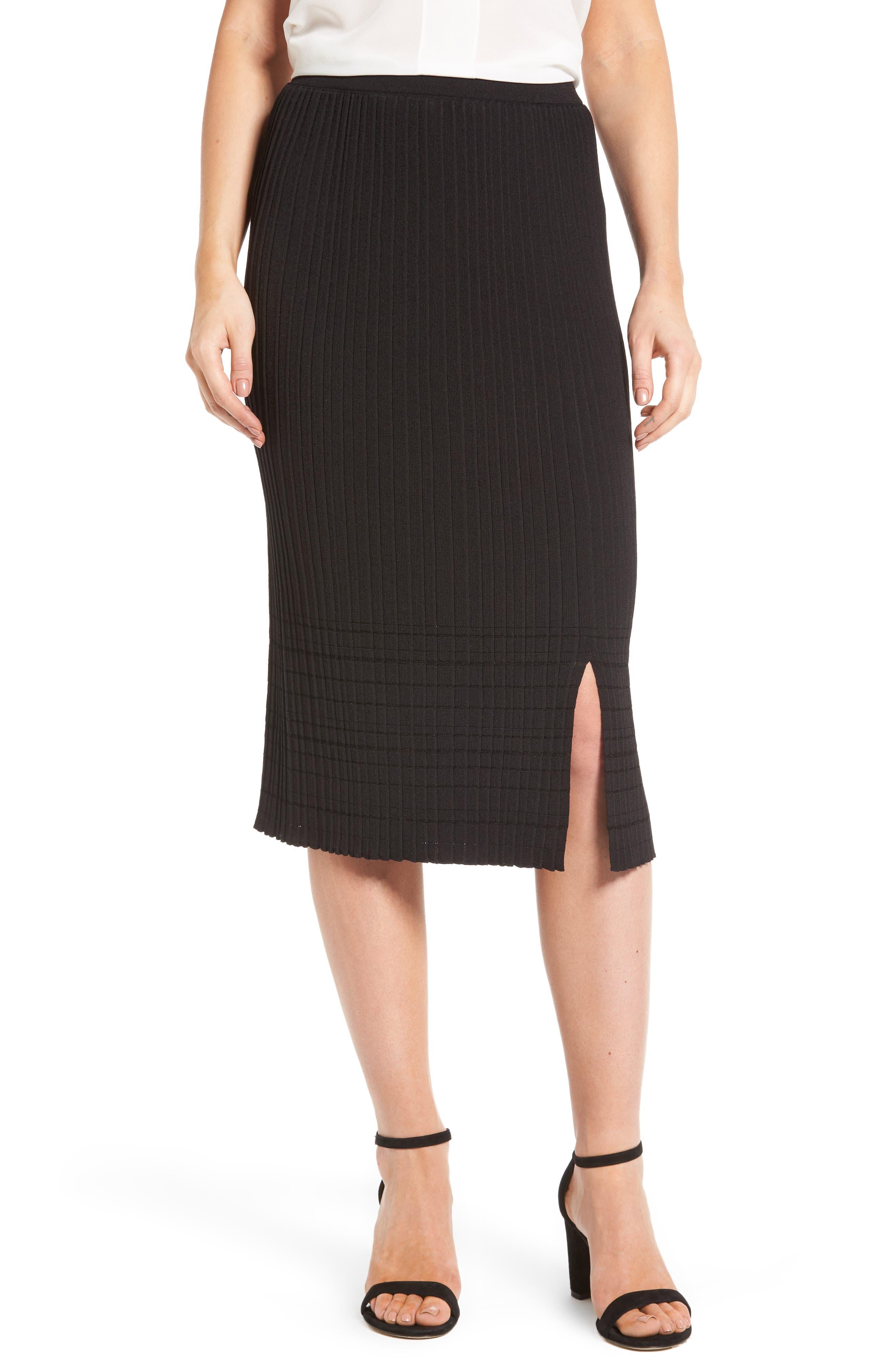 NIC+ZOE Trim Pleat Knit Midi Skirt