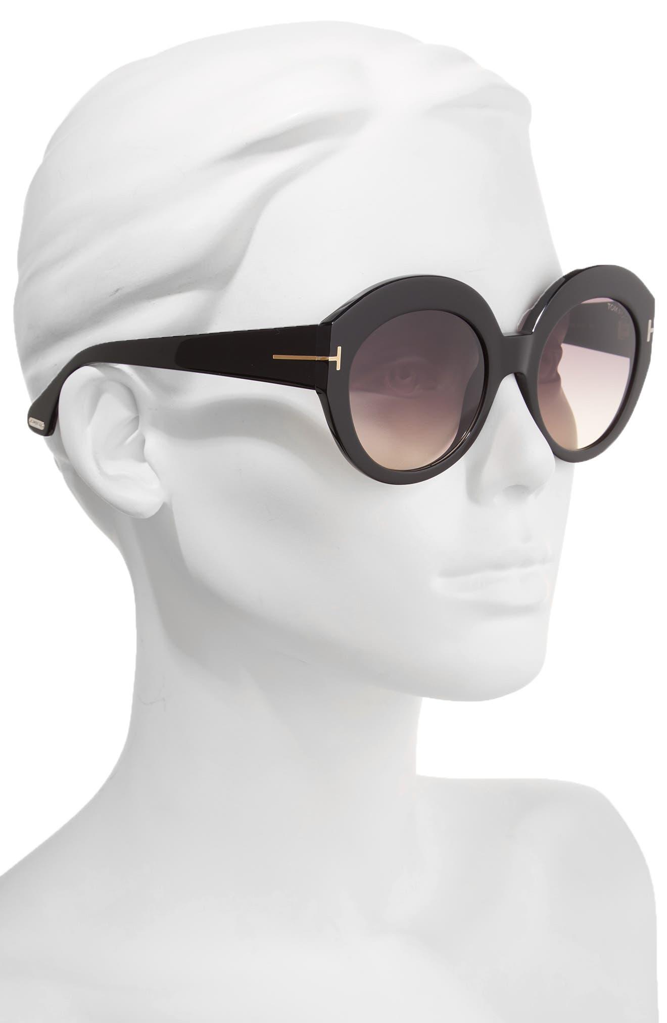 Rachel 54mm Gradient Lens Sunglasses,                             Alternate thumbnail 2, color,                             Shiny Black/ Gradient Smoke