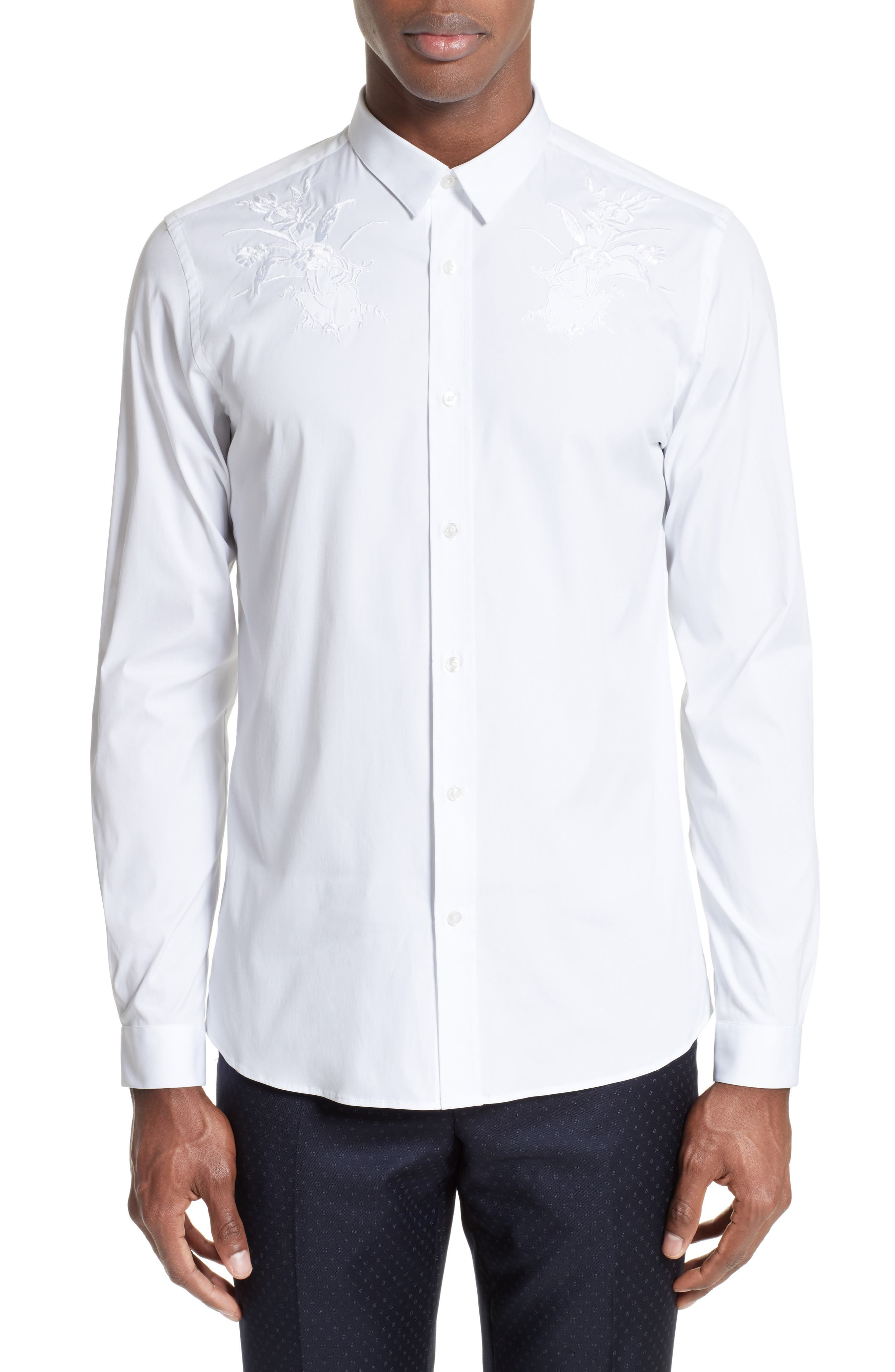 Embroidered Sport Shirt,                         Main,                         color, White