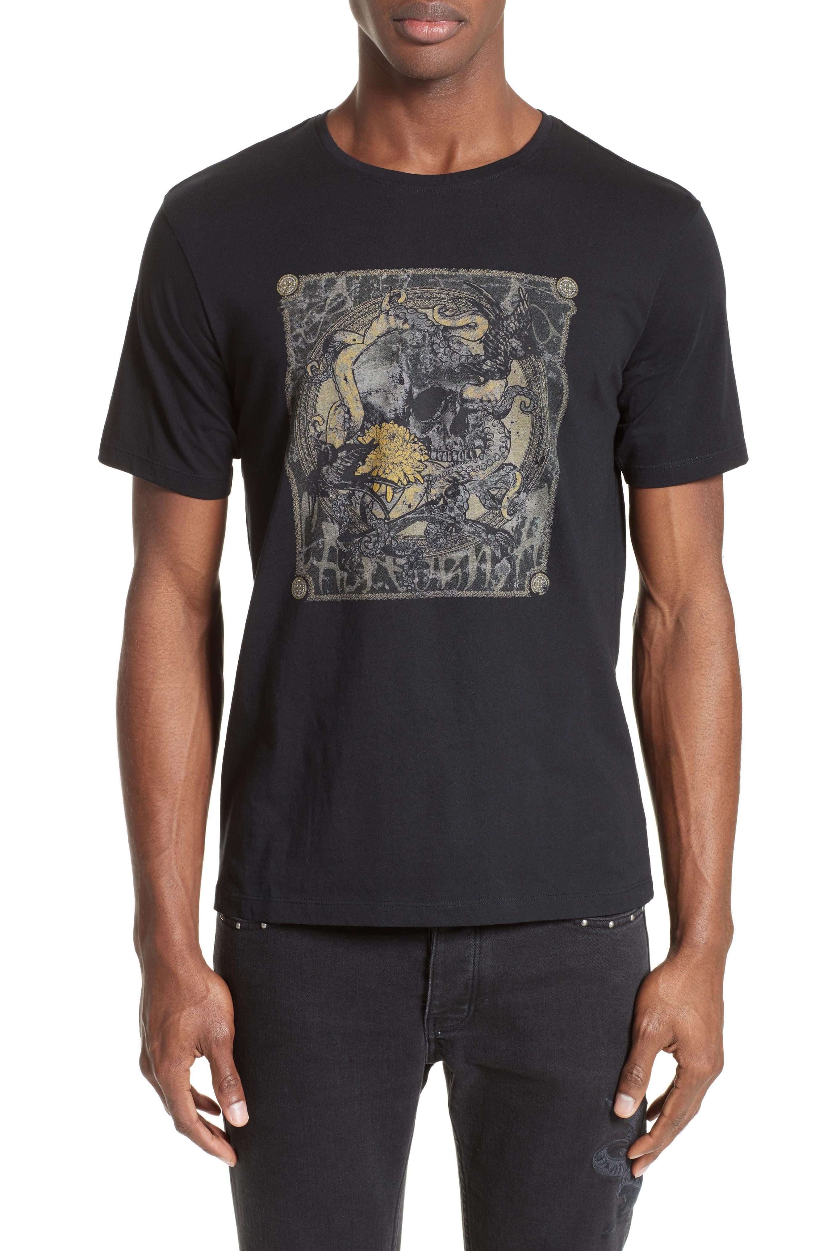 Silkscreen Finish T-Shirt,                         Main,                         color, Black